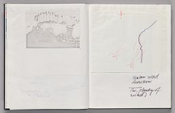 Untitled (Pasted Photocopy Of Façade With Measurements, Left Page); Untitled (Pasted Sketch Of Wind Directions, Right Page)