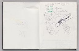 Untitled (Blank, Left Page); Untitled (Notes Pasted In, Right Page)