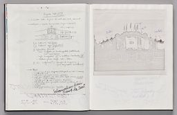 Untitled (Notes On Pasted Sheet Atop Bleed-Through Of Previous Page, Left Page); Untitled (Pasted Photocopy Of Façade With Notes, Right Page)