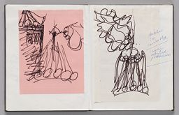 Untitled (Pasted Sketch On Colored Paper, Left Page); Untitled (Pasted Sketch With Notes, Right Page)