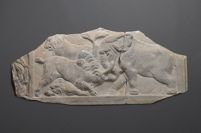 Fragment Of A Sarcophagus Lid: Animal Fight