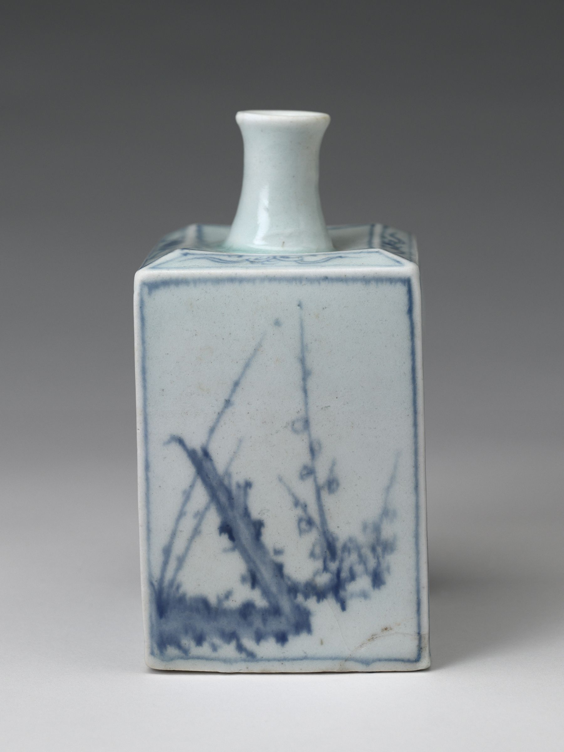 Square Bottle With Blossoming Plum Decor
