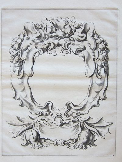Auricular Cartouche With Fruit Garlands And A Winged Monster With Clawed Paws