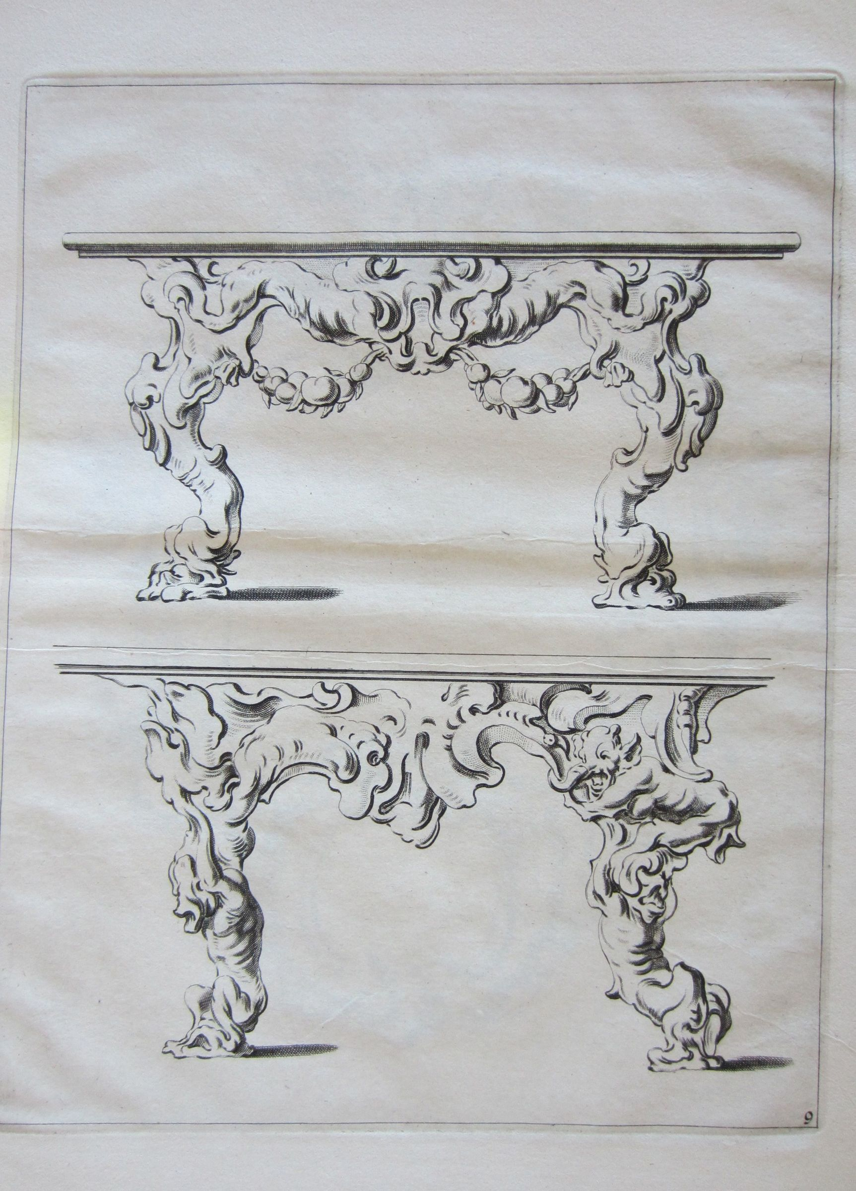 Auricular Designs For Two Tables, The Upper With Fruit Garlands, The Lower With Muscular Figures As Legs