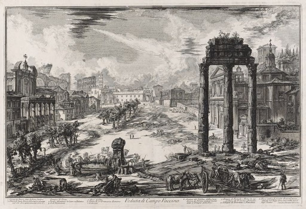 The Roman Forum, Or Campo Vaccino, With The Temple Of Antonius And Faustina In The Foreground L., The Temple Of Castor And Pollux Foreground R., And The Colosseum In The Distance