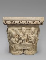 Capital  From The Abbey Of Santa María De Lebanza, Palencia; Principal Face: Two Holy Women And Angel At The Tomb: Right Face: Third Holy Woman; Left Face: Gardener (Christ?)