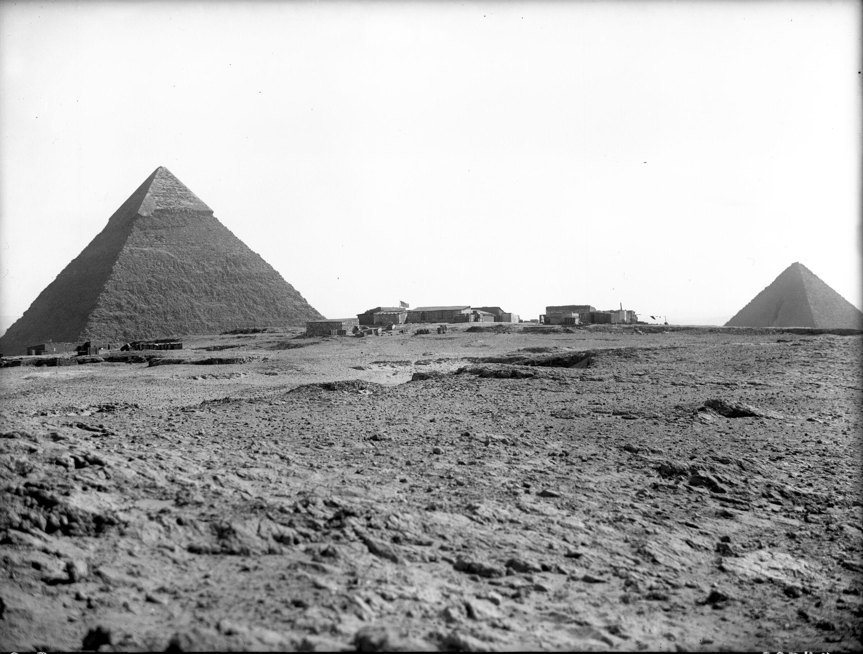 General view: Site: Giza; view: Harvard Camp, Khafre Pyramid, Menkaure Pyramid