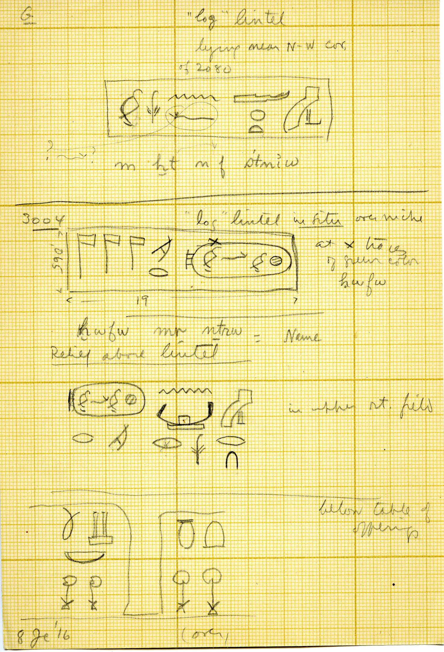 Drawings: Limestone lintel from G 3093, and false door from G 3004