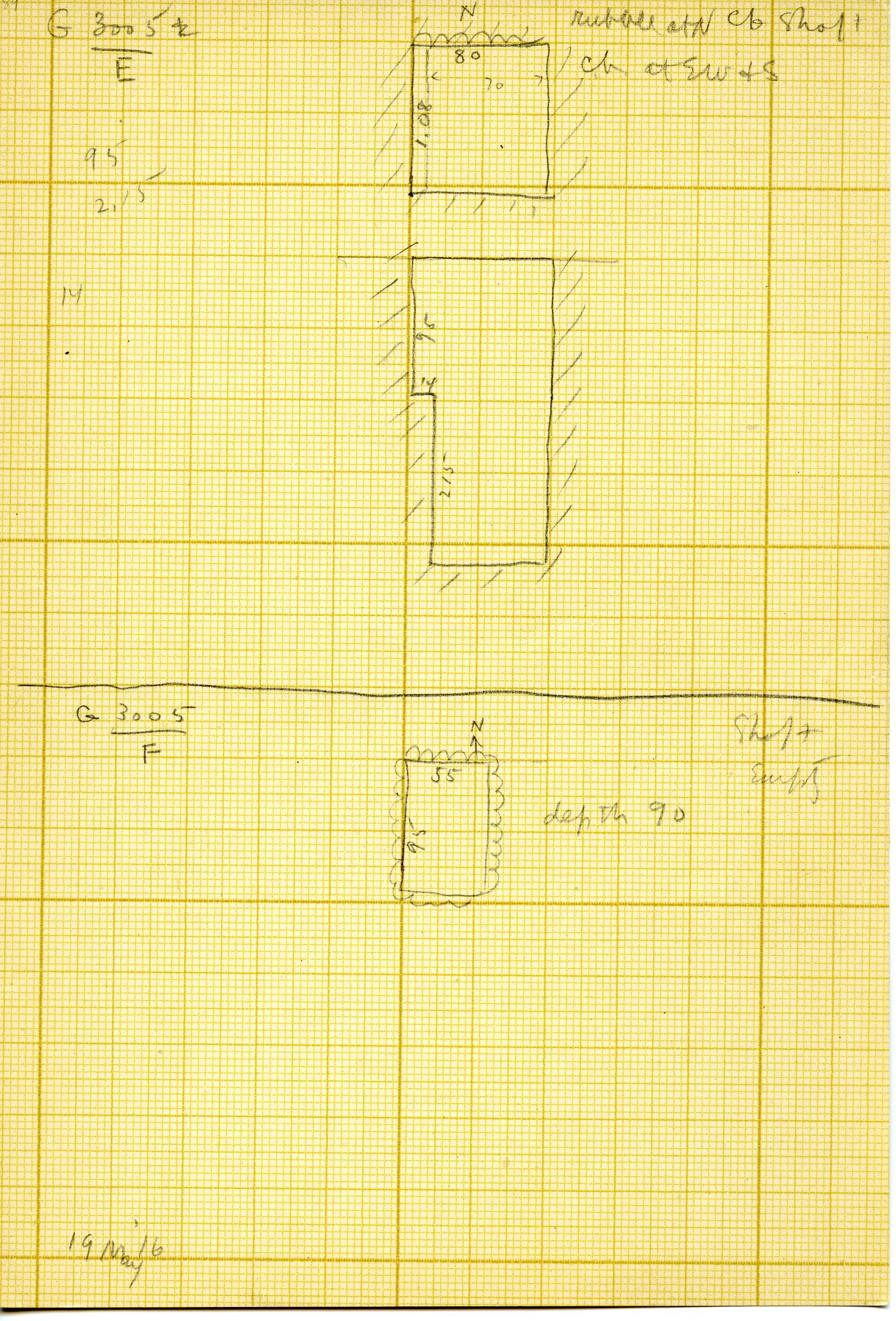 Maps and plans: G 3005, Shafts E, F