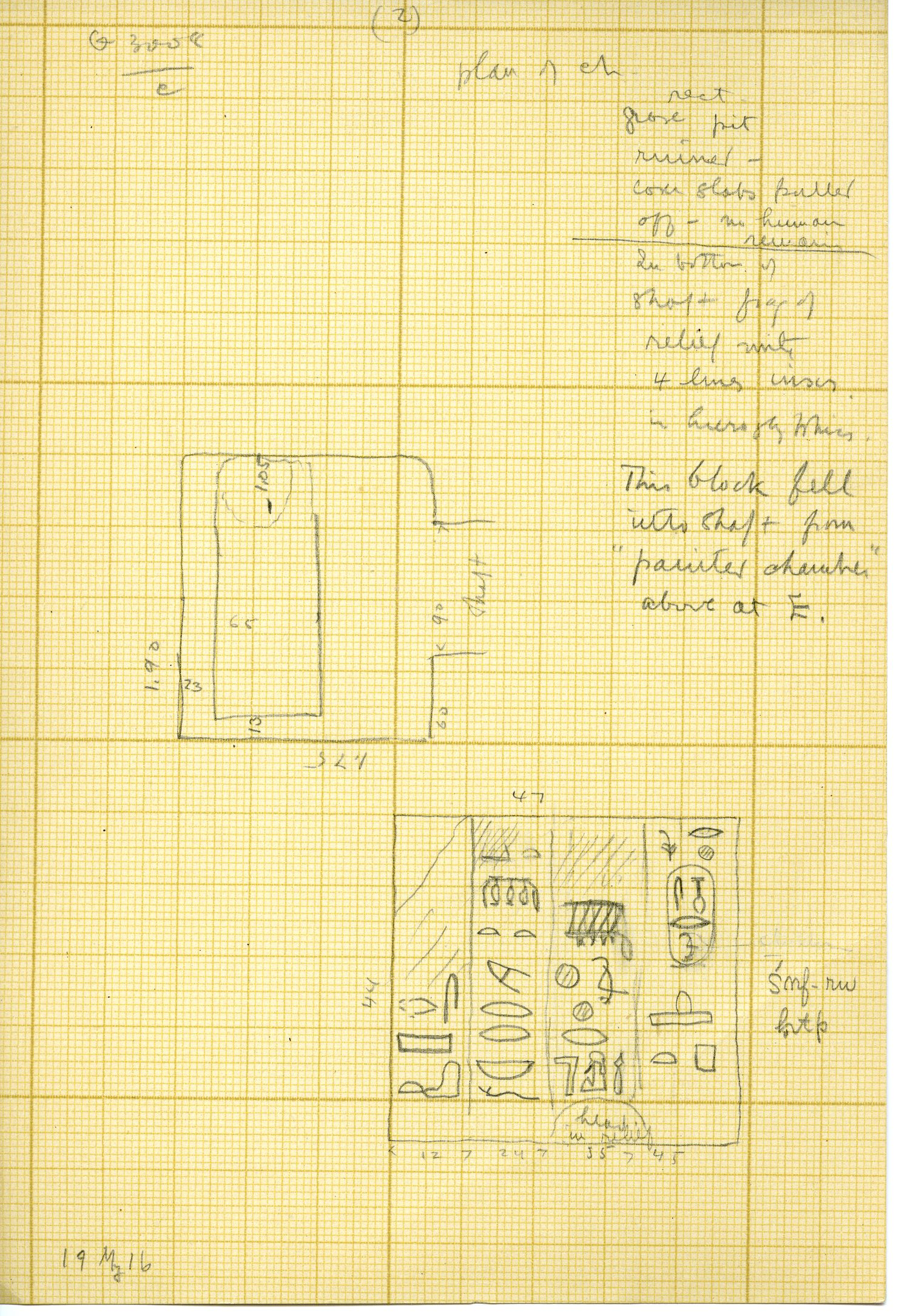 Maps and plans: G 3008, Shaft C, and door jamb