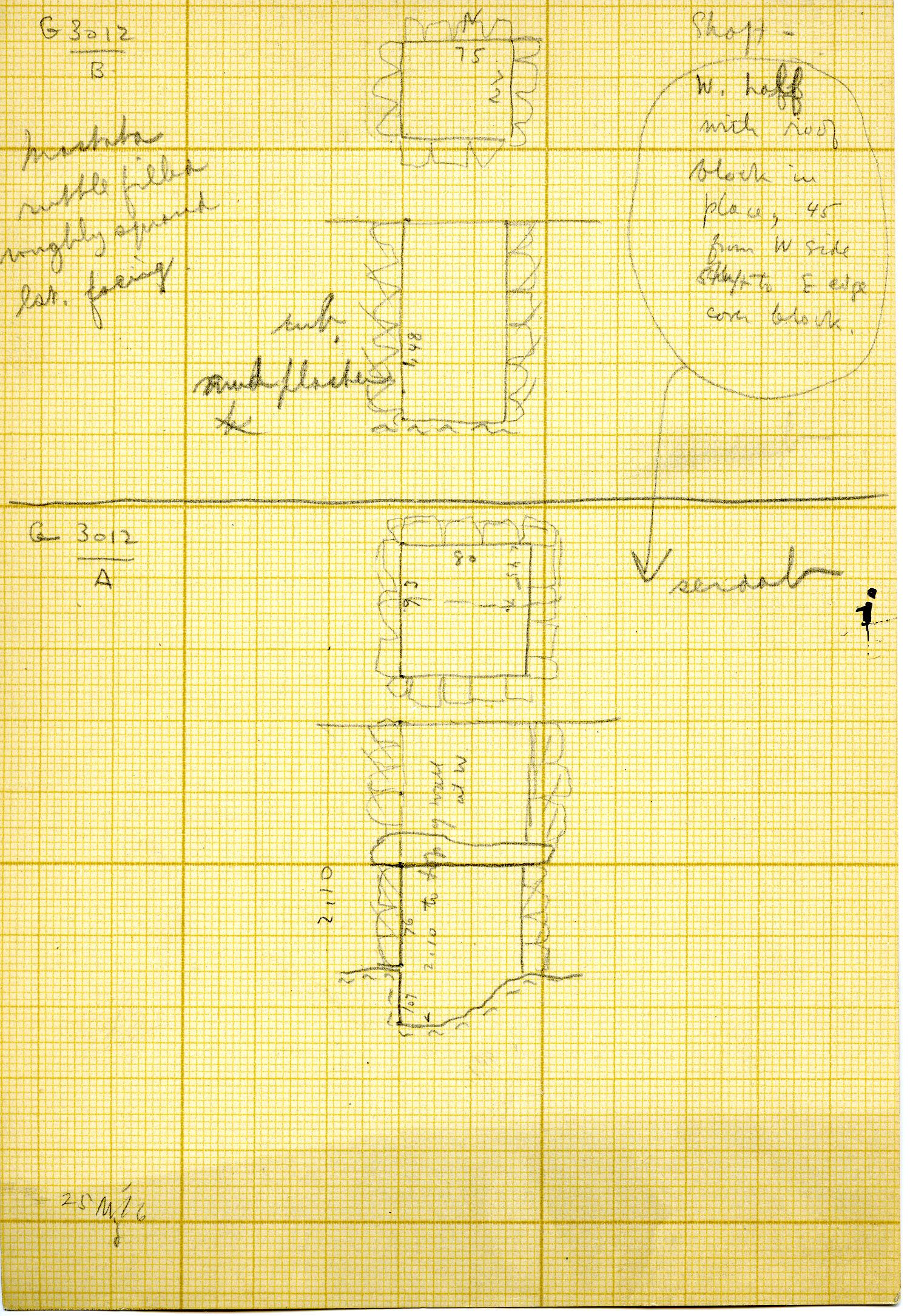 Maps and plans: G 3012, Shaft B, and Serdab
