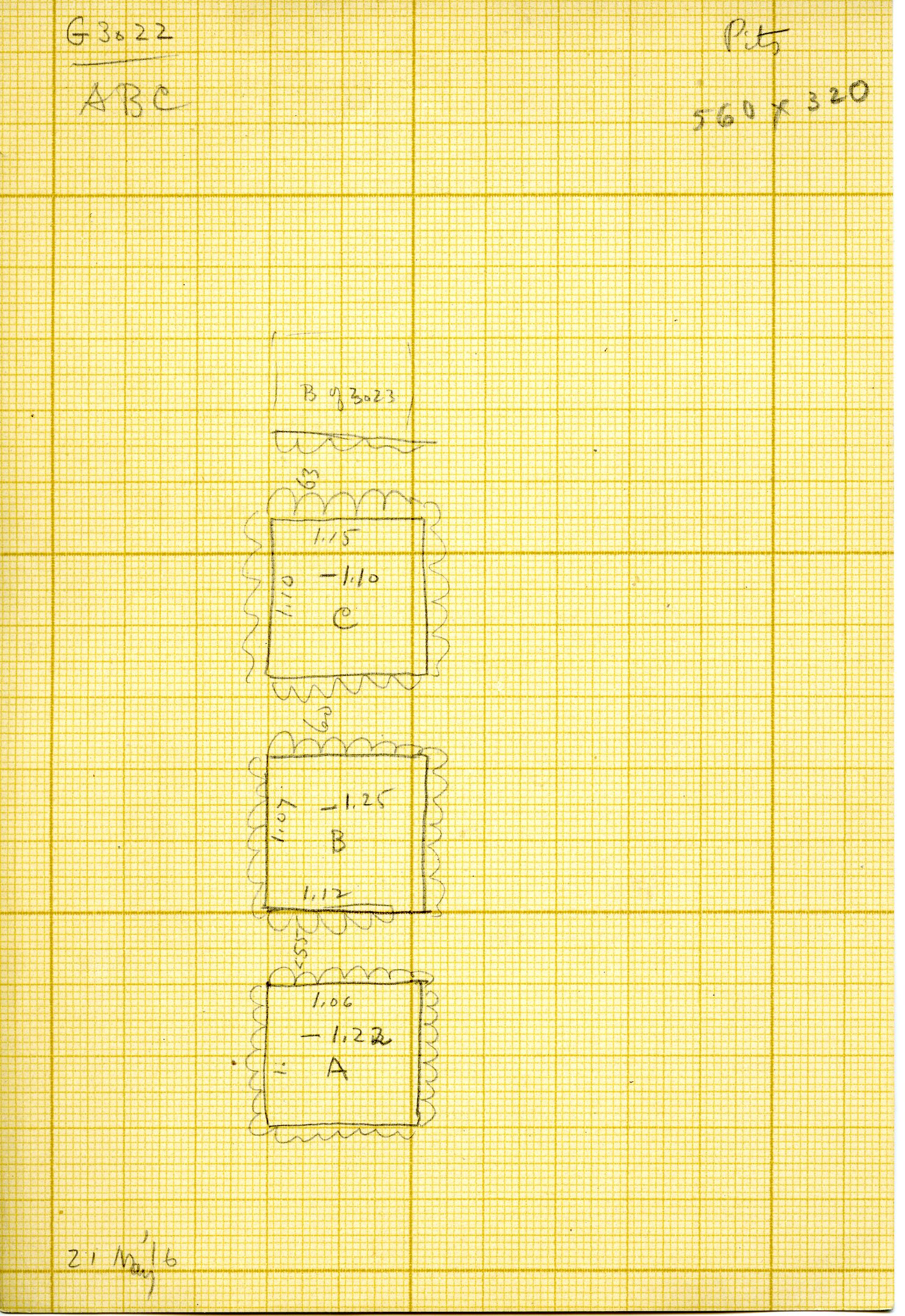 Maps and plans: G 3022, Shafts A, B, C