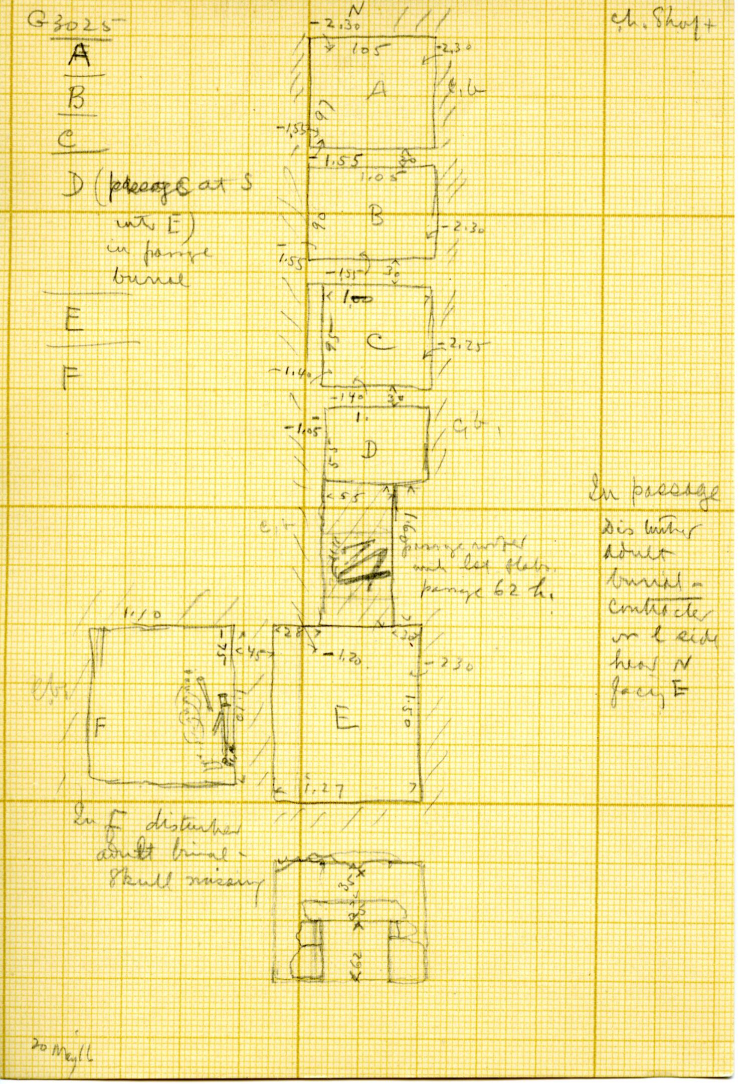 Maps and plans: G 3025, Shafts A, B, C, D, E, F