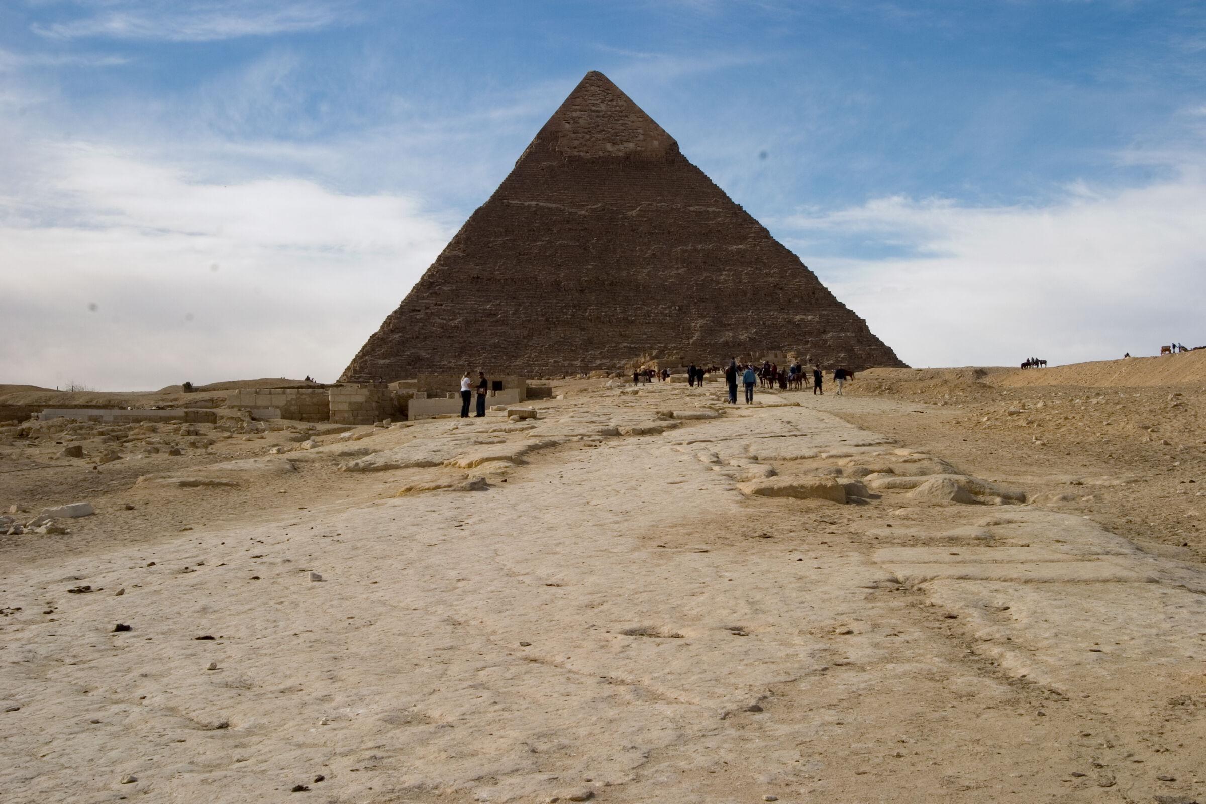 Khafre pyramid and or pyramid temple: Site: Giza; View: Khafre pyramid