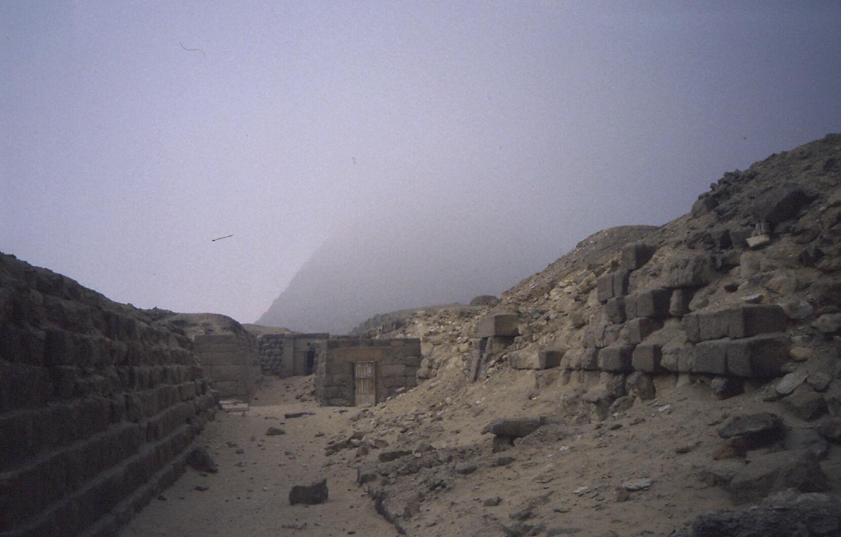 Western Cemetery: Site: Giza; View: G 2140, G 2136, Khafre pyramid