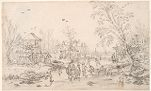 Farms and a Dovecote by a Frozen River; verso: River Scene with a Ferry