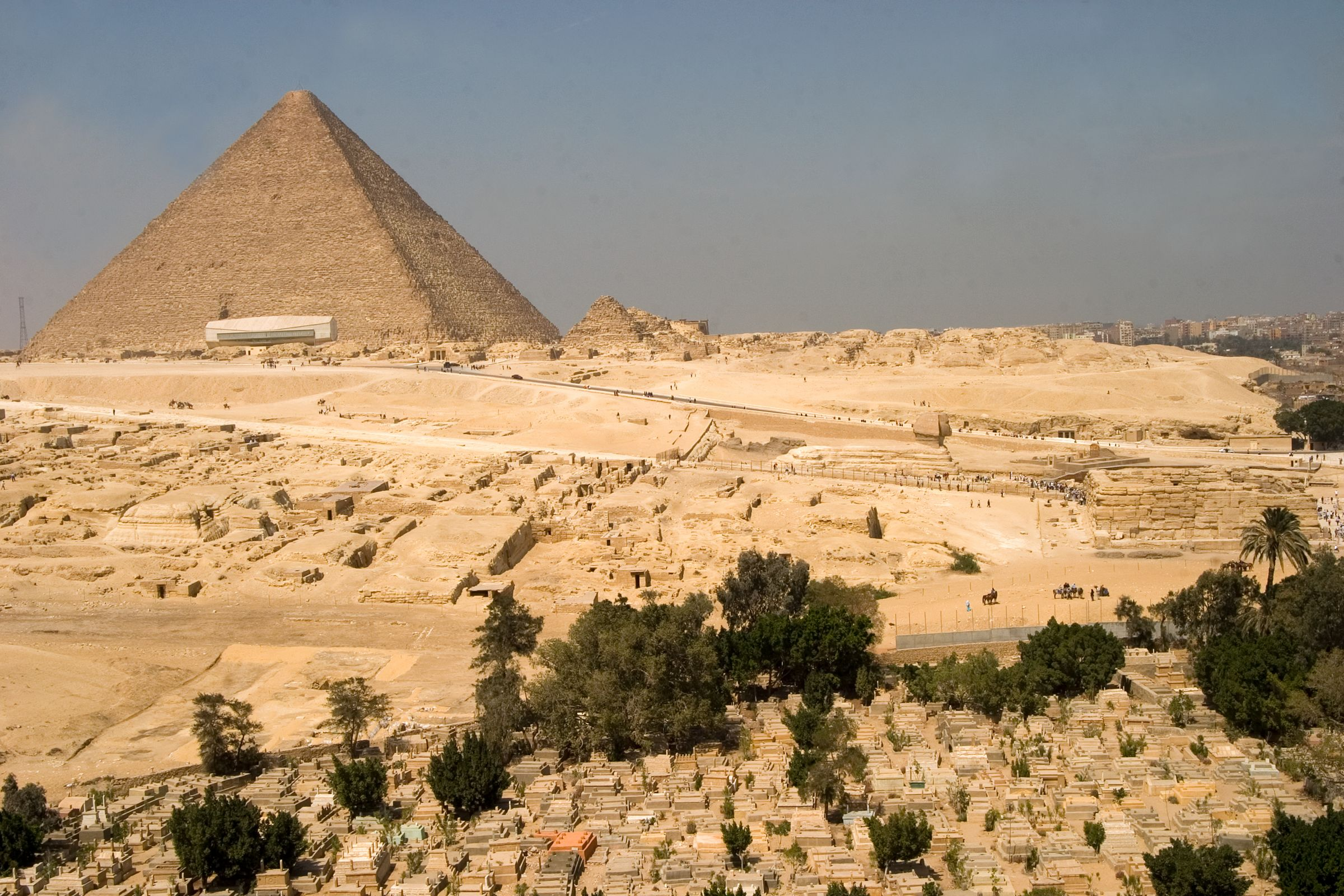 General view: Site: Giza; View: Sphinx, Khufu pyramid