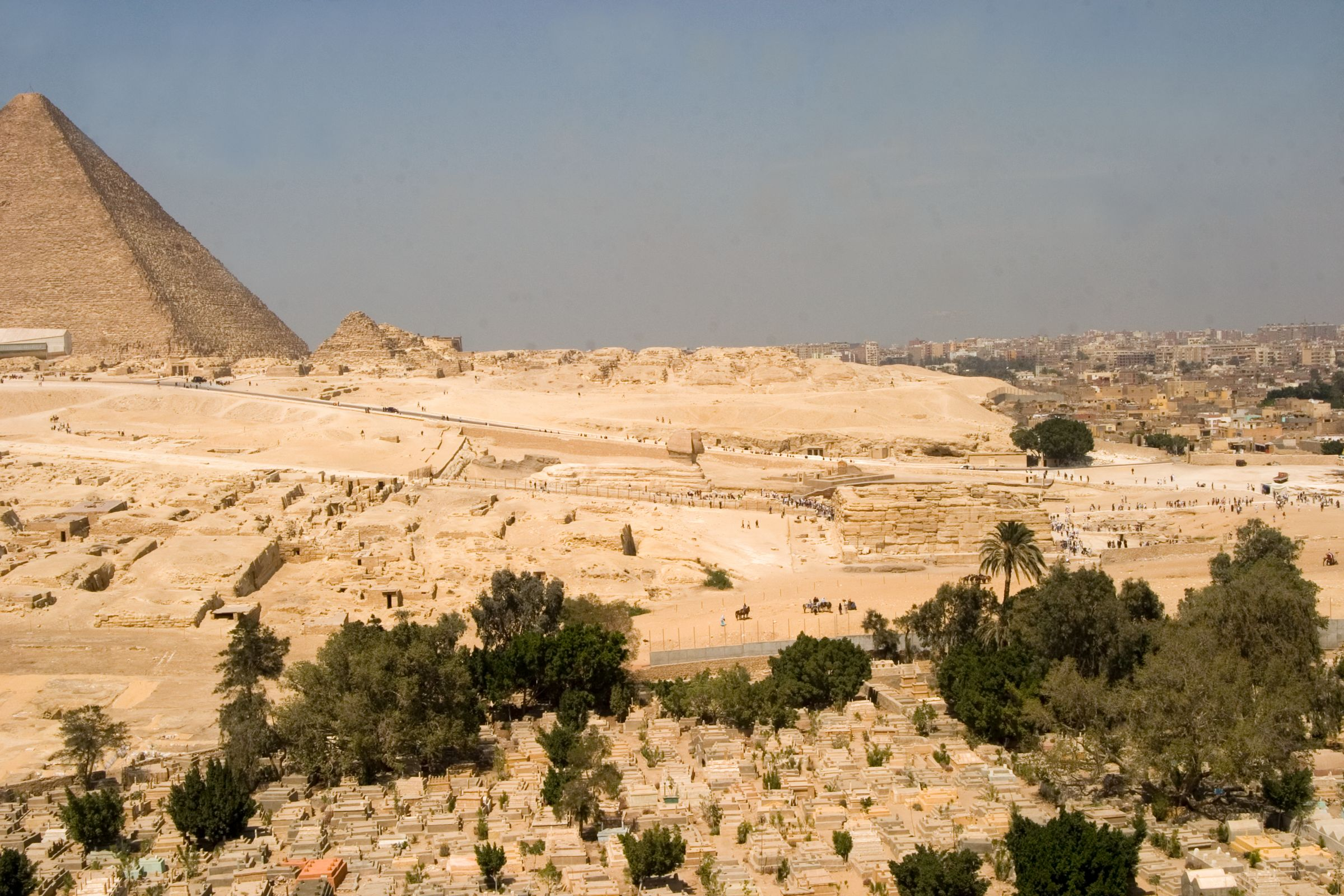 General view: Site: Giza; View: Sphinx, Khafre valley temple, Khufu pyramid