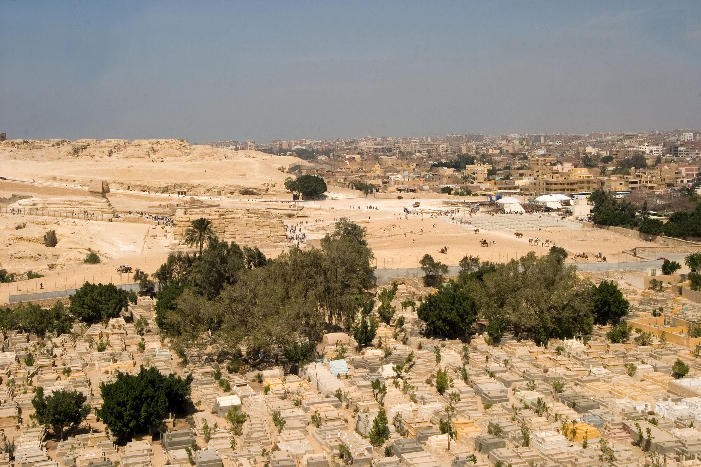 Sphinx Complex: Site: Giza; View: Sphinx, Khafre valley temple