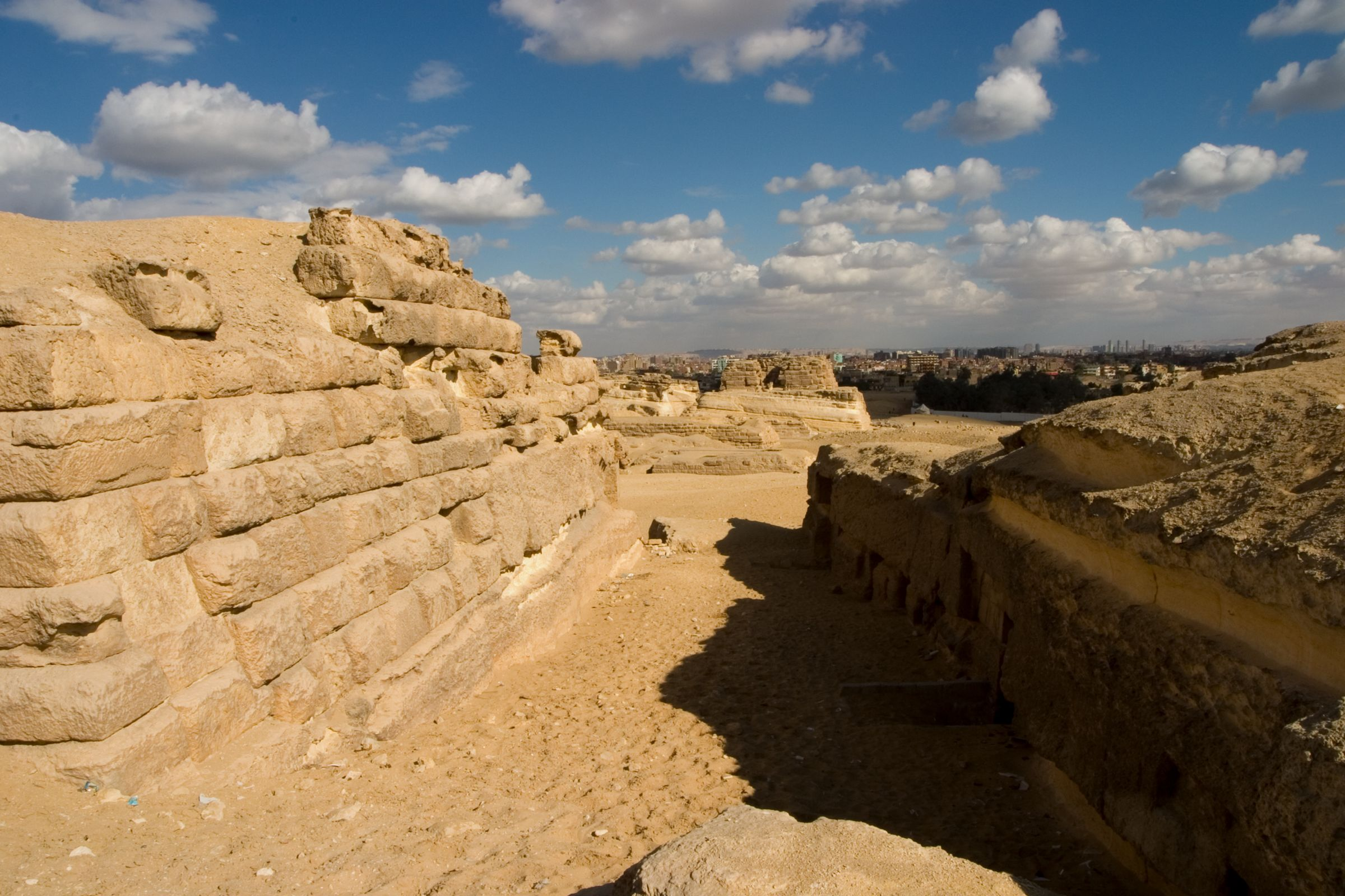 Central Field (Hassan): Site: Giza; View: G 8034, uninscribed rock cut tombs 2, 3, 4, 5