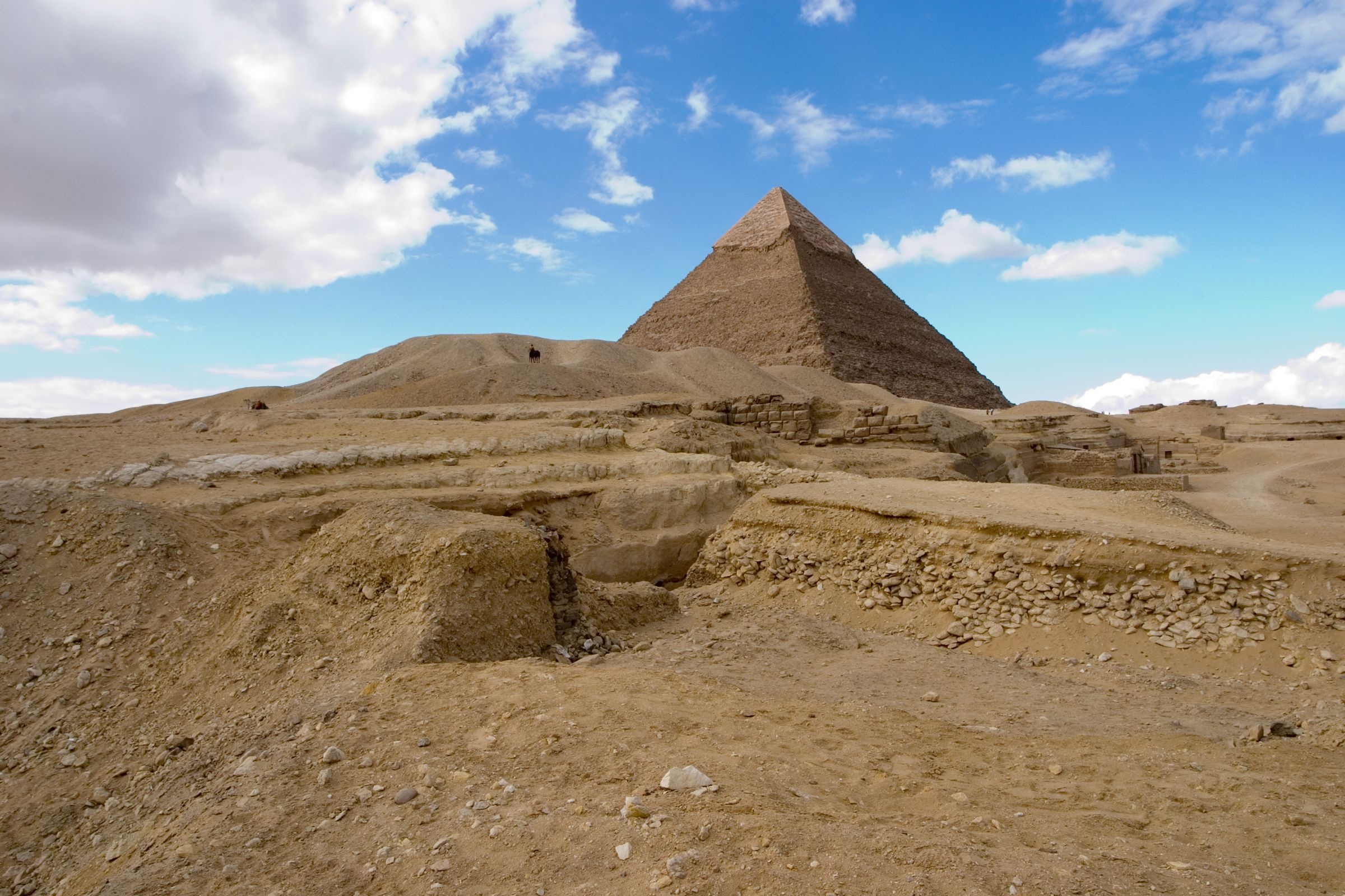 Central Field (Hassan): Site: Giza; View: Khafre pyramid