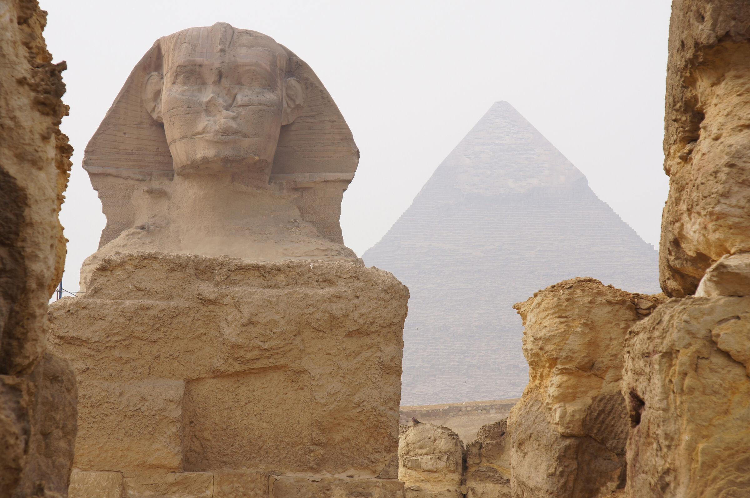 Sphinx Complex: Site: Giza; View: Sphinx Temple, Khafre Pyramid, Sphinx