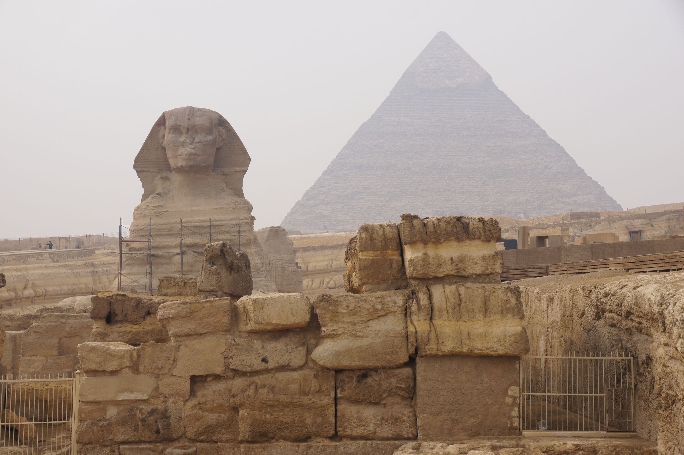 Khafre Pyramid Complex and Sphinx Complex: Site: Giza; View: Sphinx Temple, Khafre Pyramid, Sphinx