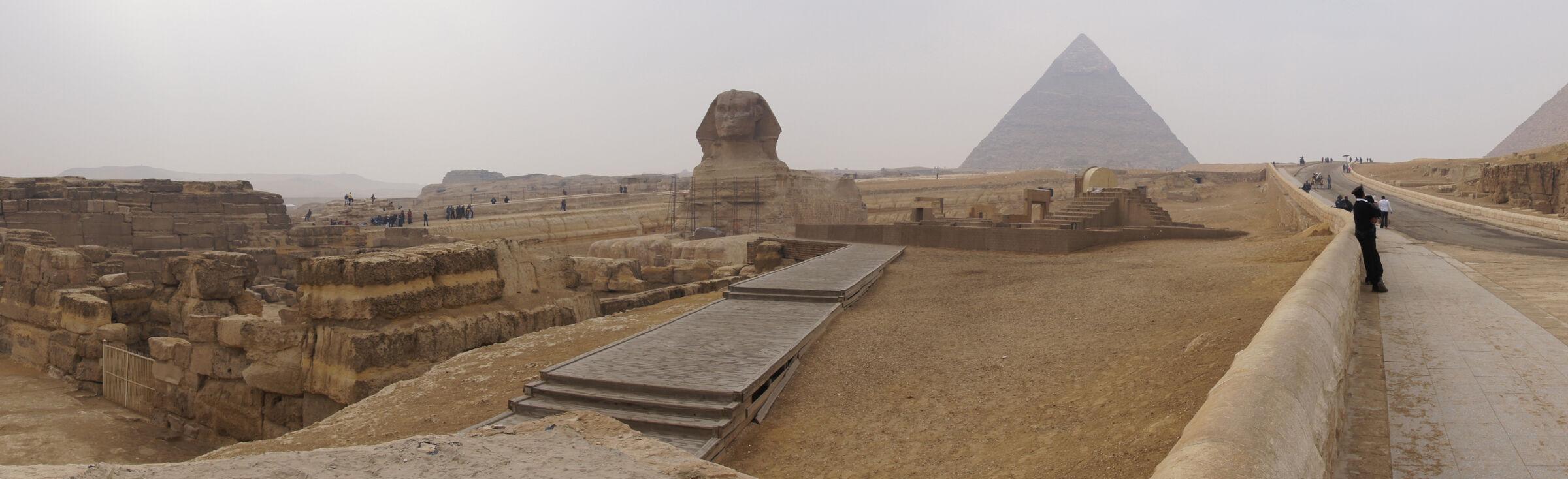 Sphinx Complex: Site: Giza; View: Sphinx Temple, Sphinx, Temple of Amenhetep II