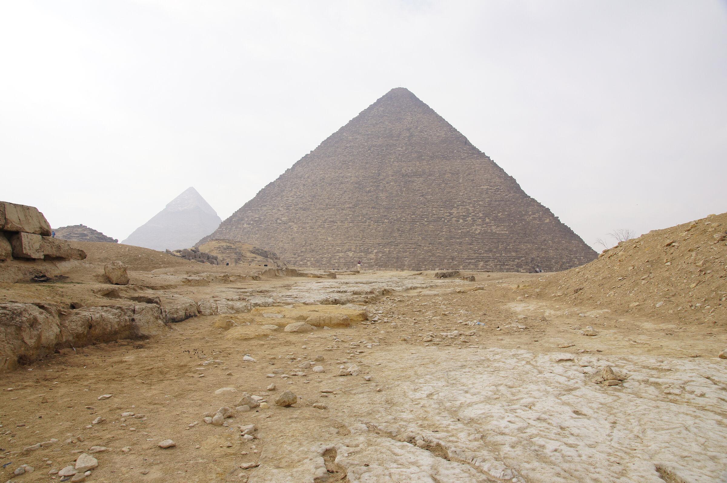Eastern Cemetery and Khufu Pyramid Complex: Site: Giza; View: Khufu Causeway, Khufu Pyramid, G I-a, G I-b, G 7810