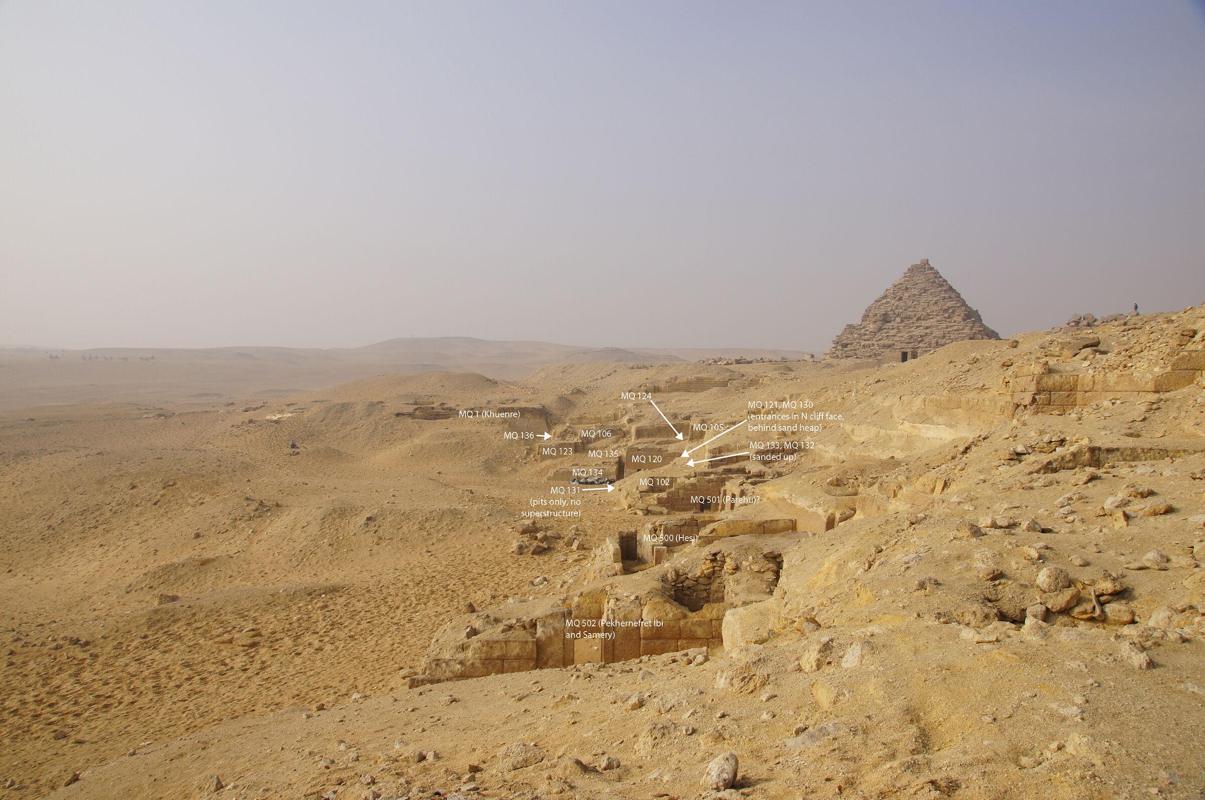 Menkaure Quarry Cemetery: Site: Giza; View: MQ 502, MQ 500, MQ 501(?), MQ 102, MQ 131, MQ 132, MQ 133, MQ 101(?), MQ 130, MQ 121, MQ 120, MQ 134, MQ 135, MQ 105, MQ 124, MQ 123, MQ 106, MQ 136, MQ 1, G III-a