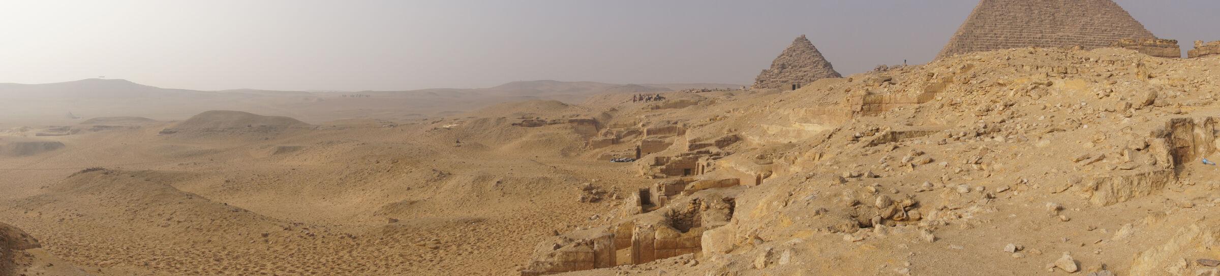 Menkaure Quarry Cemetery: Site: Giza; View: MQ 502, MQ 500, MQ 501(?), MQ 102, MQ 131, MQ 132, MQ 133, MQ 101(?), MQ 130, MQ 121, MQ 120, MQ 134, MQ 135, MQ 105, MQ 124, MQ 123, MQ 106, MQ 136, MQ 1, G III-a, Menkaure Pyramid