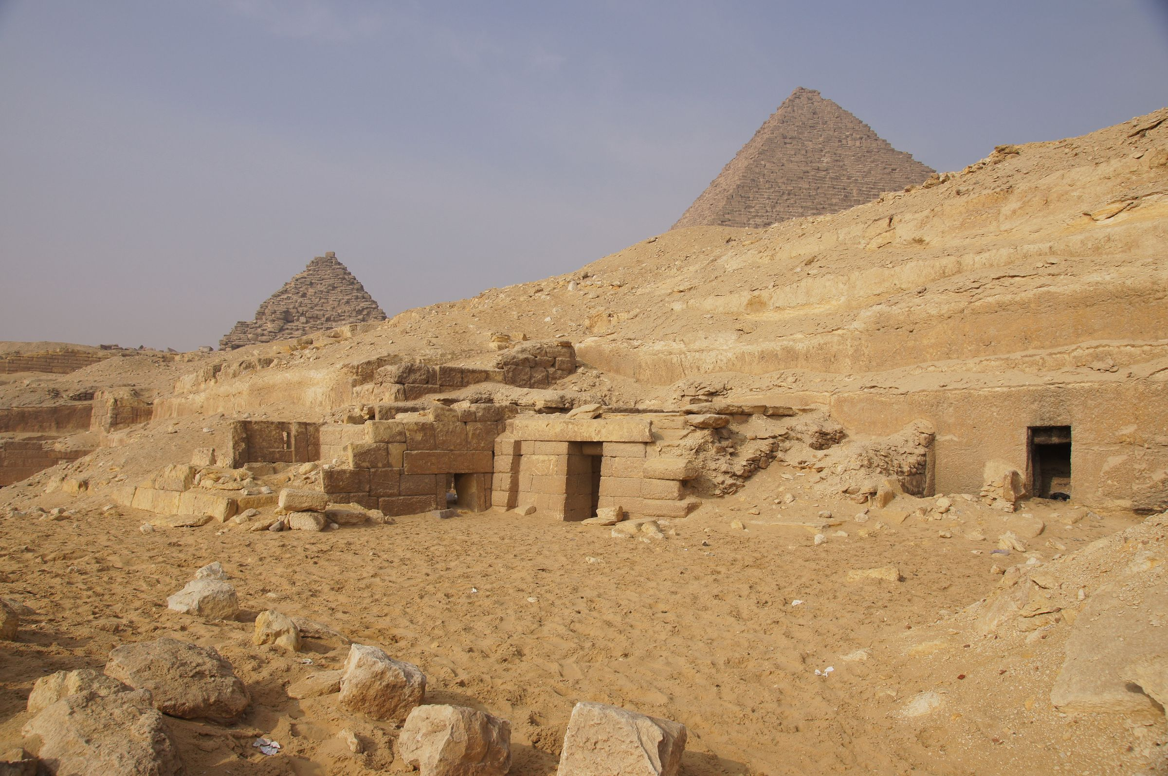Menkaure Quarry Cemetery: Site: Giza; View: MQ 102, MQ 501(?), MQ 105, MQ 120, MQ 101(?), G III-a, Menkaure Pyramid