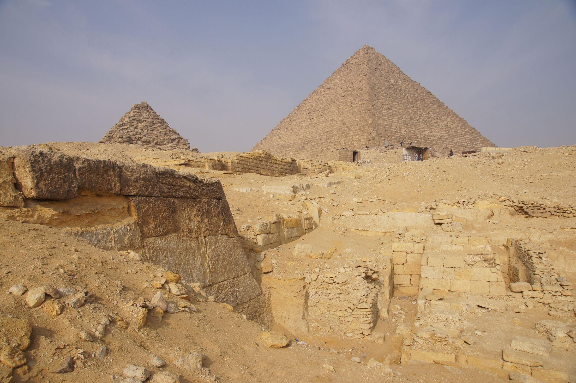 Menkaure Quarry Cemetery: Site: Giza; View: MQ 1, MQ 136, MQ 106, MQ 123, G III-a, Menkaure Pyramid