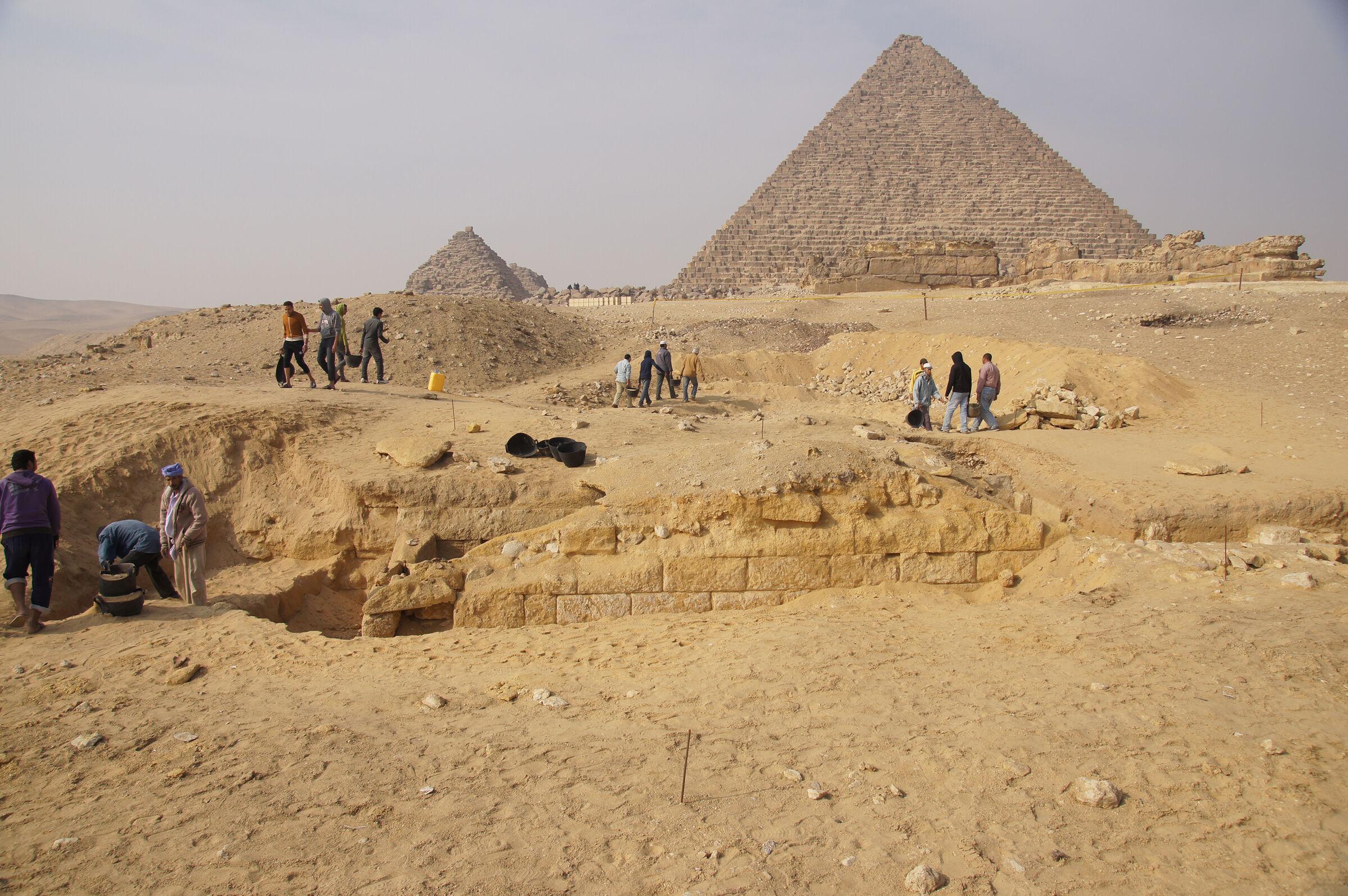 Menkaure Pyramid Complex: Site: Giza; View: Menkaure Pyramid, Menkaure Pyramid Temple, G III-a