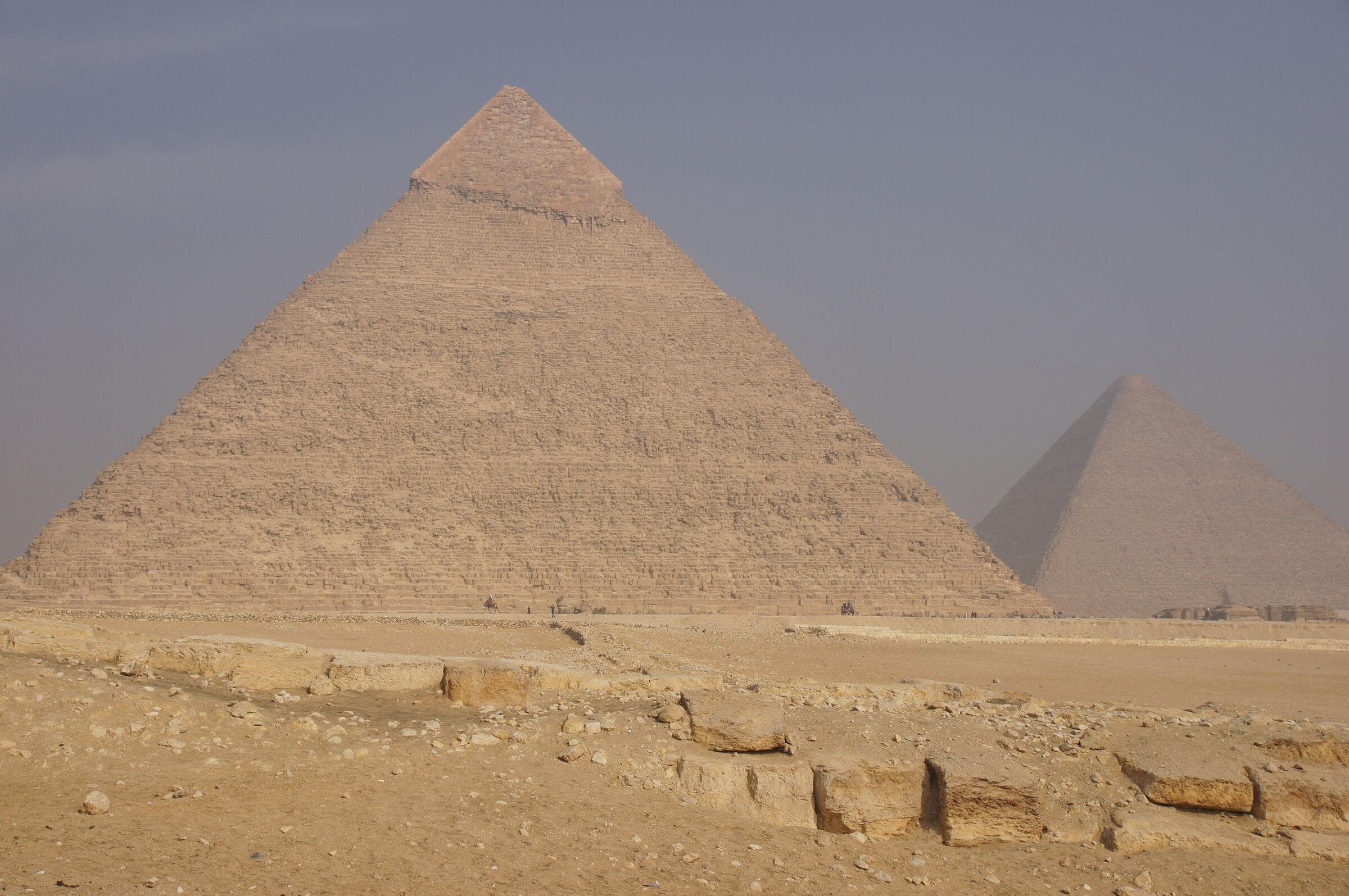 General view: Site: Giza; View: Khafre Pyramid, Khufu Pyramid, Menkaure Causeway