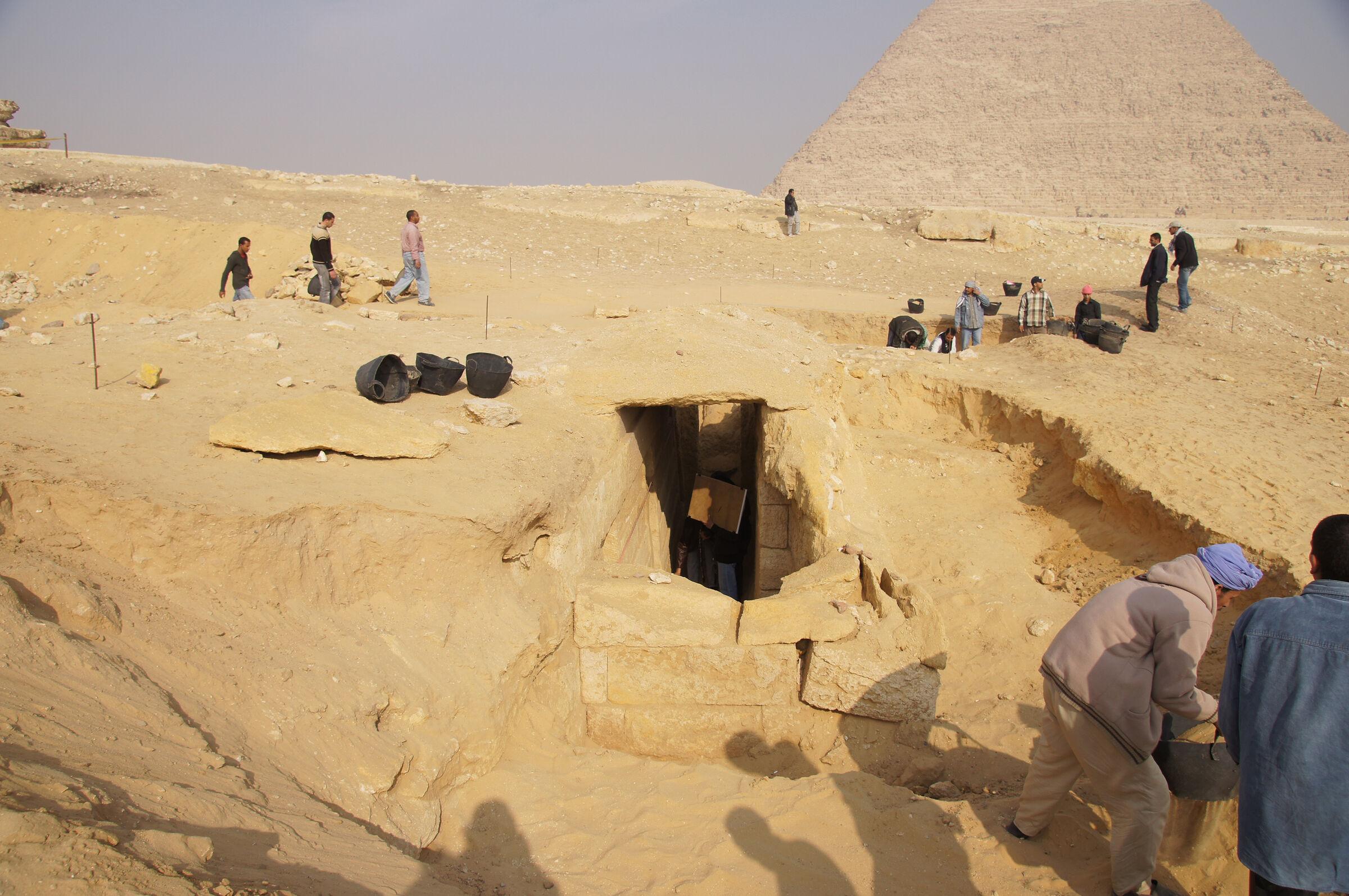 Menkaure Pyramid Complex: Site: Giza; View: Menkaure Causeway, Khafre Pyramid