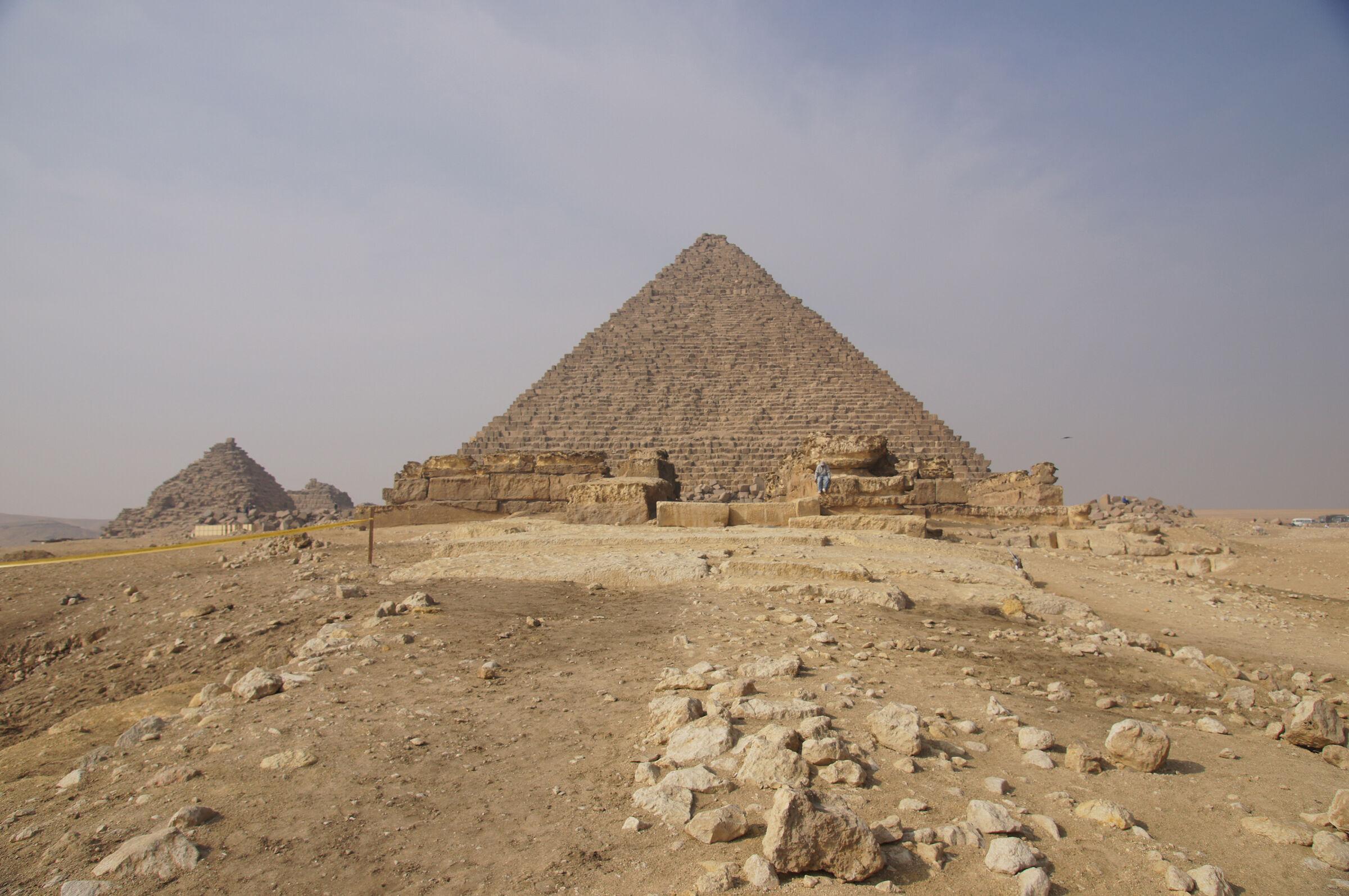 Menkaure Pyramid Complex: Site: Giza; View: Menkaure Pyramid, Menkaure Causeway, Menkaure Pyramid Temple, G III-a, G III-b