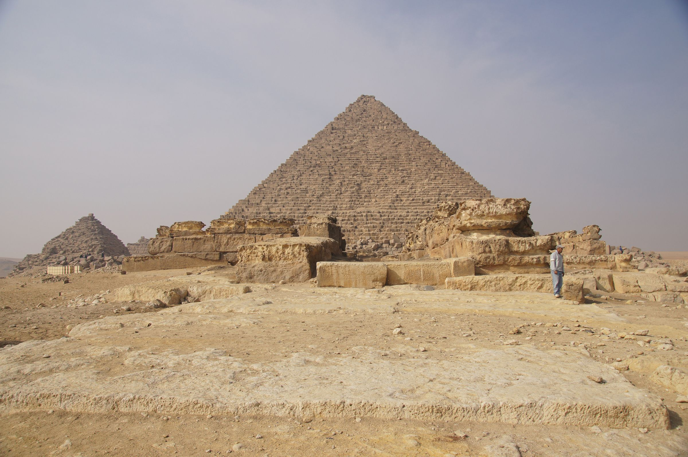 Menkaure Pyramid Complex: Site: Giza; View: Menkaure Pyramid, Menkaure Causeway, Menkaure Pyramid Temple, G III-a