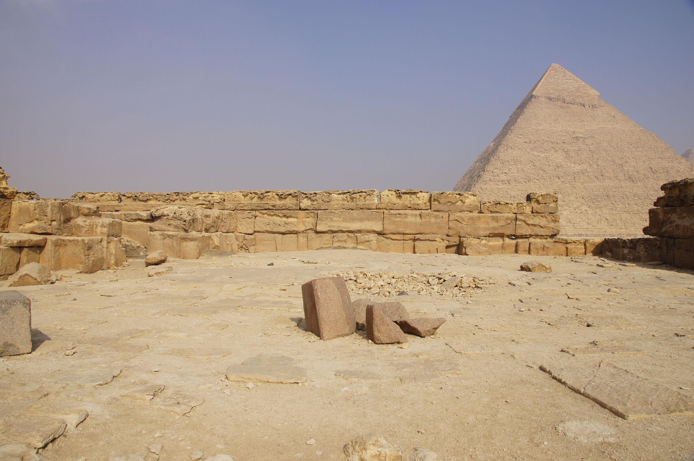 Menkaure Pyramid Complex: Site: Giza; View: Menkaure Pyramid Temple, Khafre Pyramid
