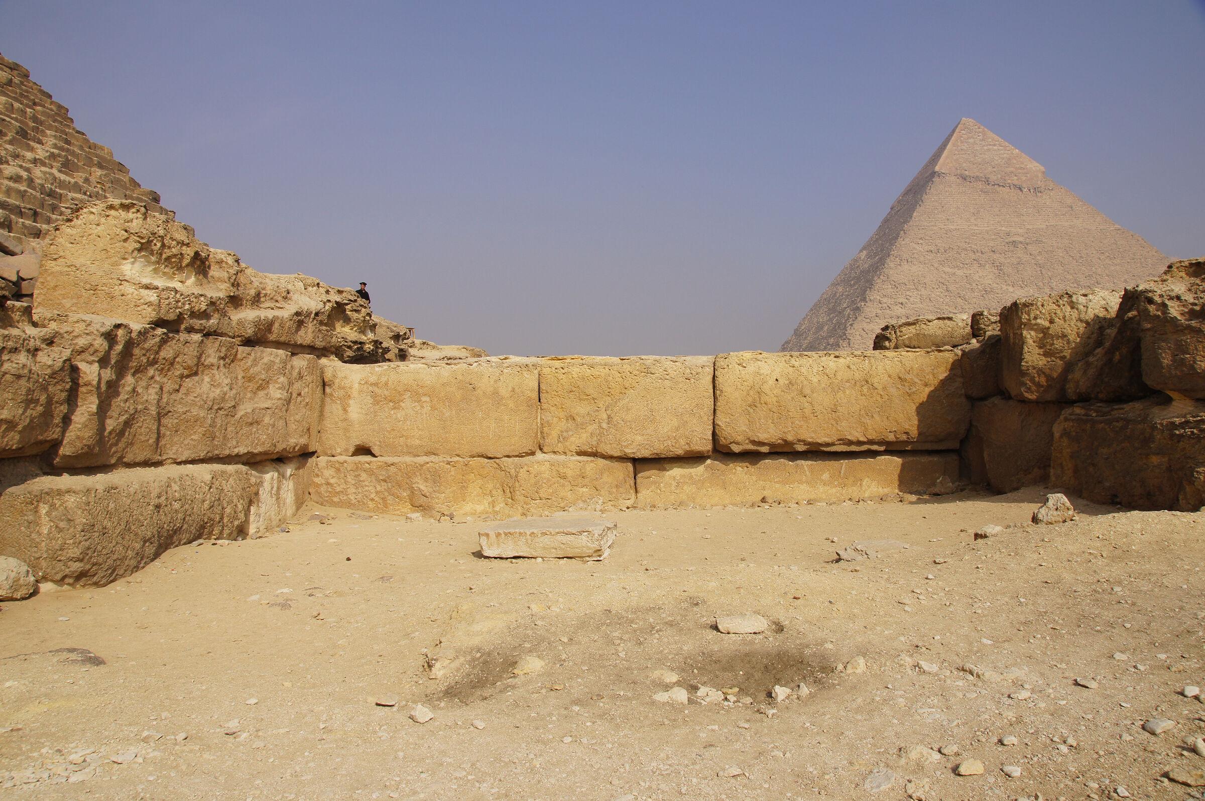 Menkaure Pyramid Complex: Site: Giza; View: Menkaure Pyramid Temple, Menkaure Pyramid, Khafre Pyramid