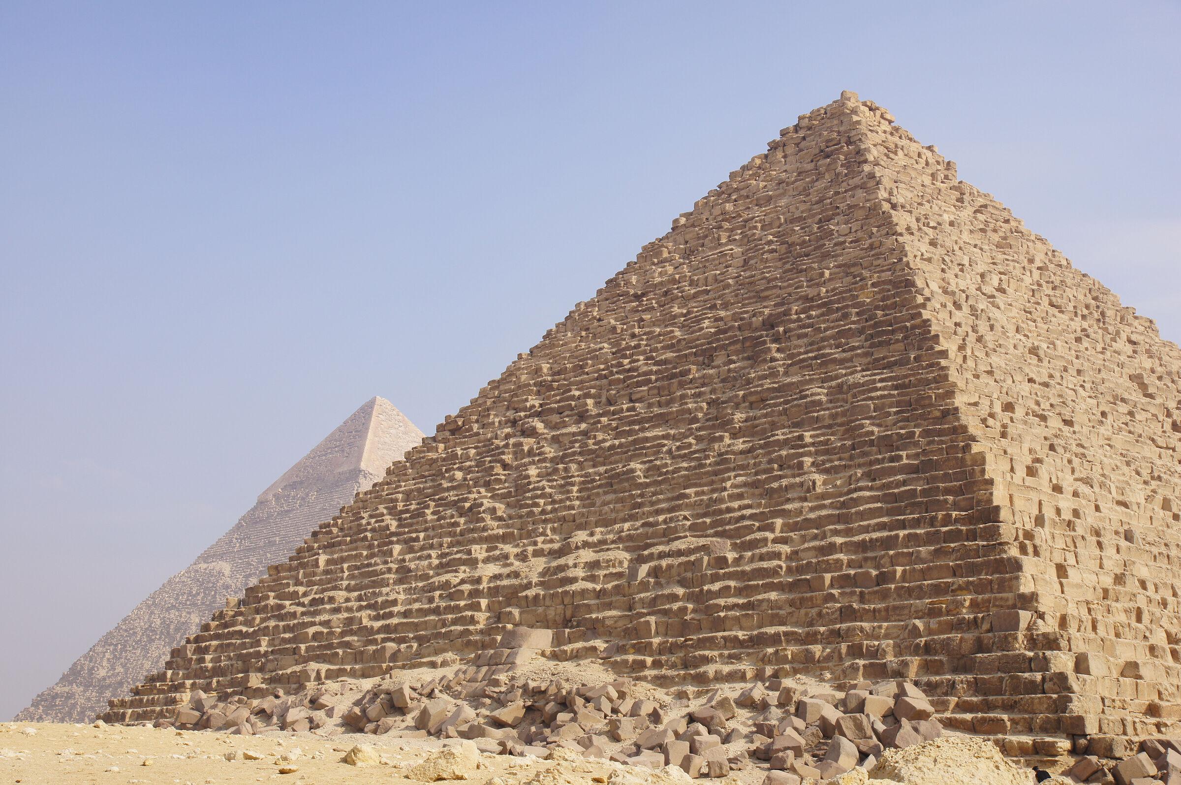 Menkaure Pyramid Complex: Site: Giza; View: Menkaure Pyramid, Khafre Pyramid