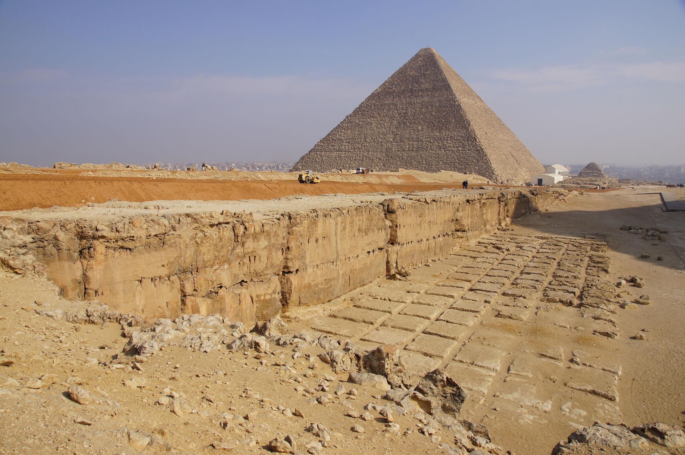 Khafre Pyramid Complex: Site: Giza; View: Khafre Quarry, Khufu Pyramid