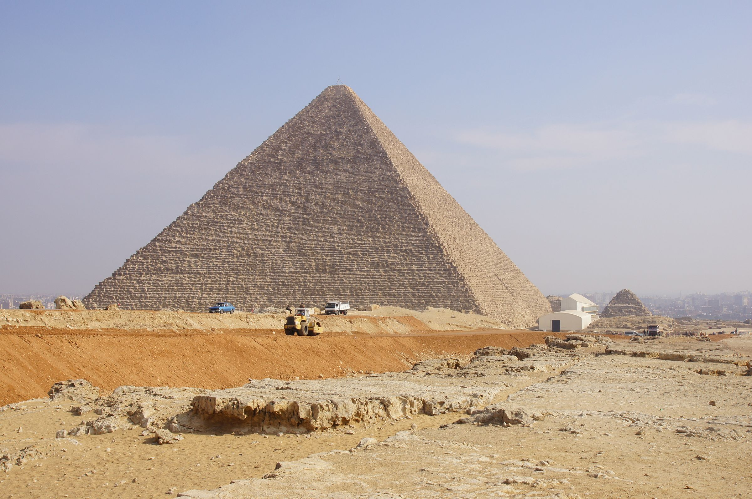 General View: Site: Giza; View:  Khufu Pyramid, G I-South Cemetery, Khufu Boat Museum, G I-c