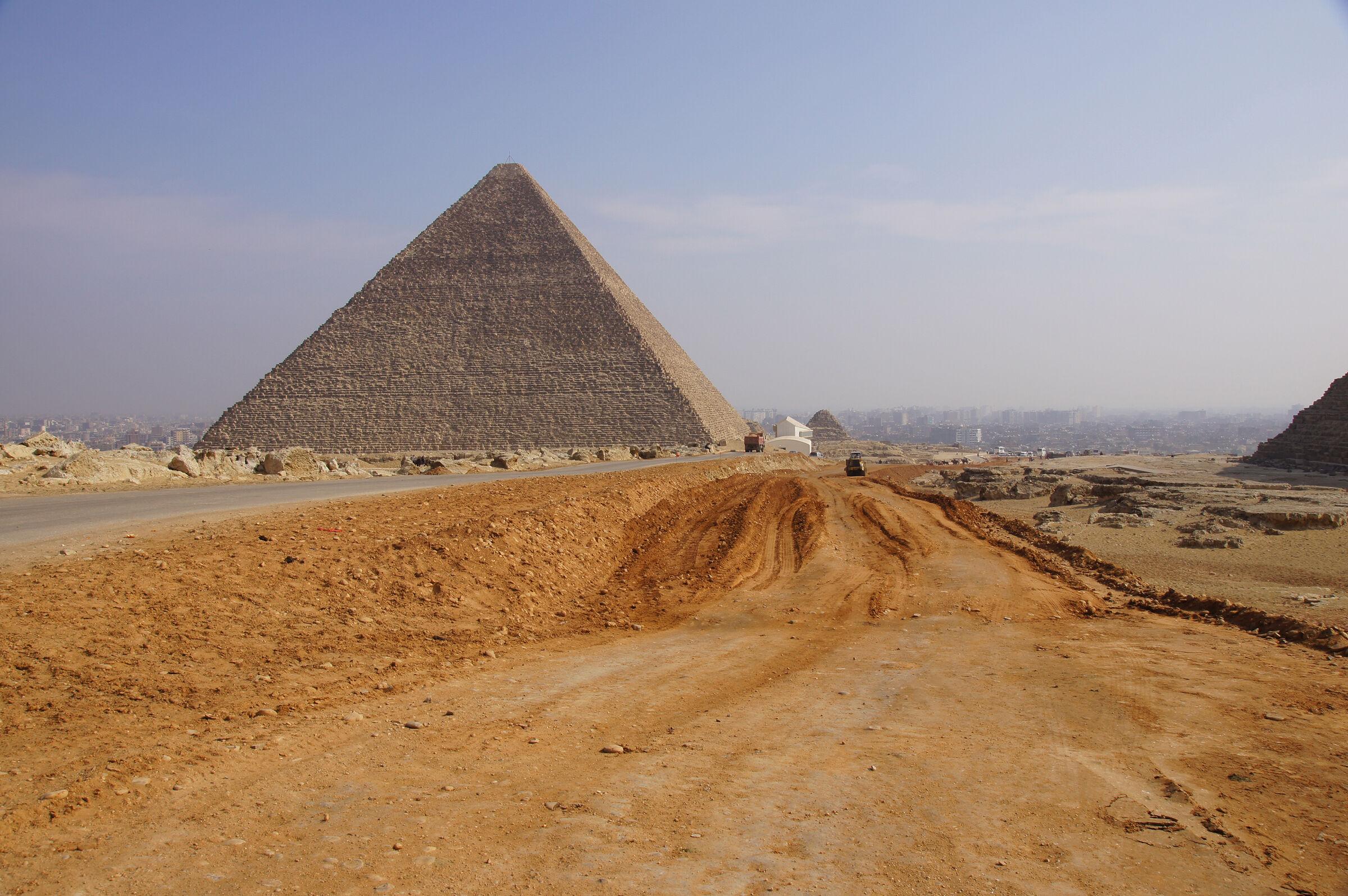 Khufu Pyramid Complex: Site: Giza; View:  Khufu Pyramid,  Khufu Boat Museum, G I-c