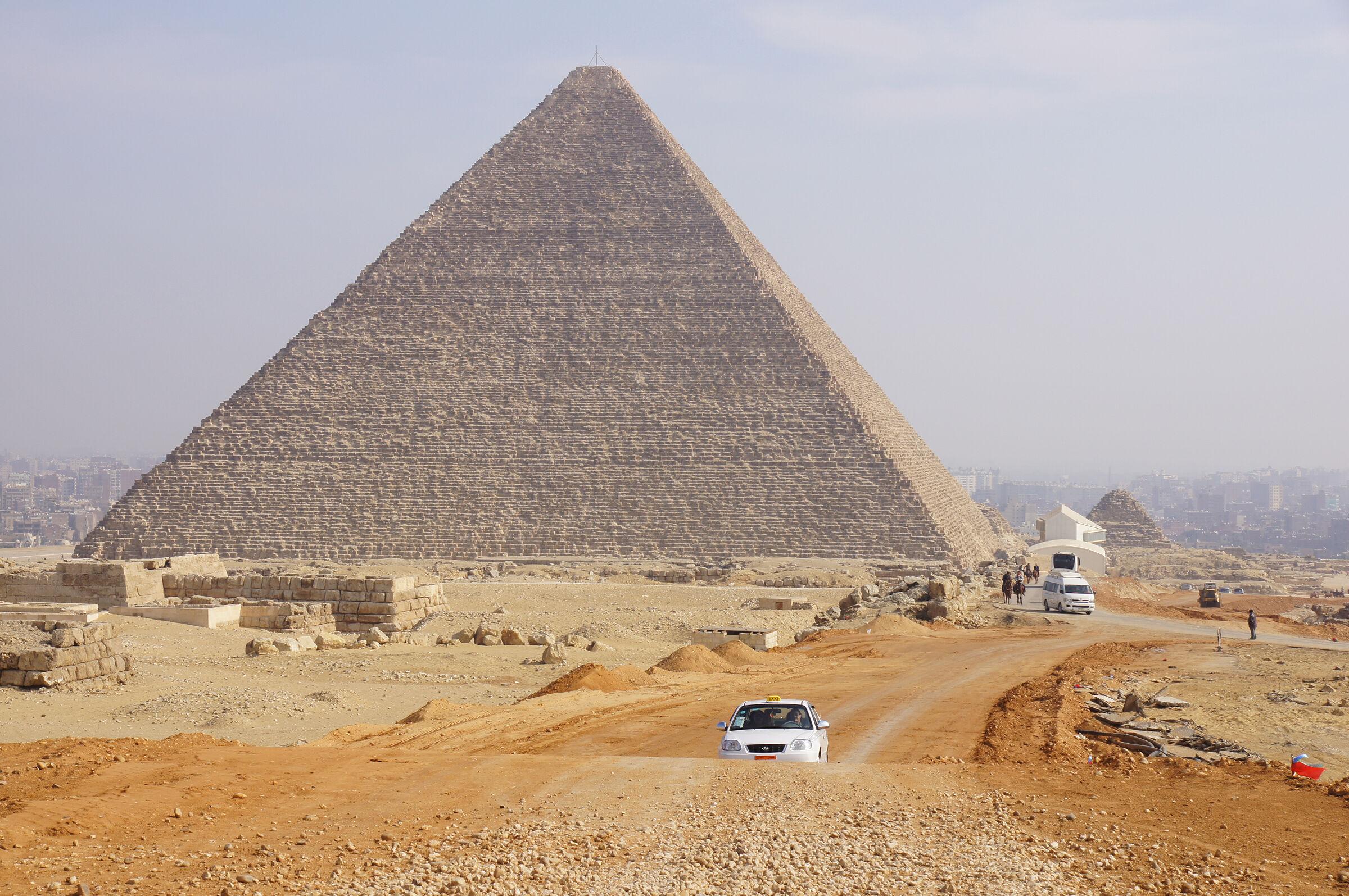 General view: Site: Giza; View: Khufu Pyramid, G 80, G 6027, G 6028, G 6050, G 6020, G 6010, Khufu Boat Museum, G I-South Cemetery, G I-c