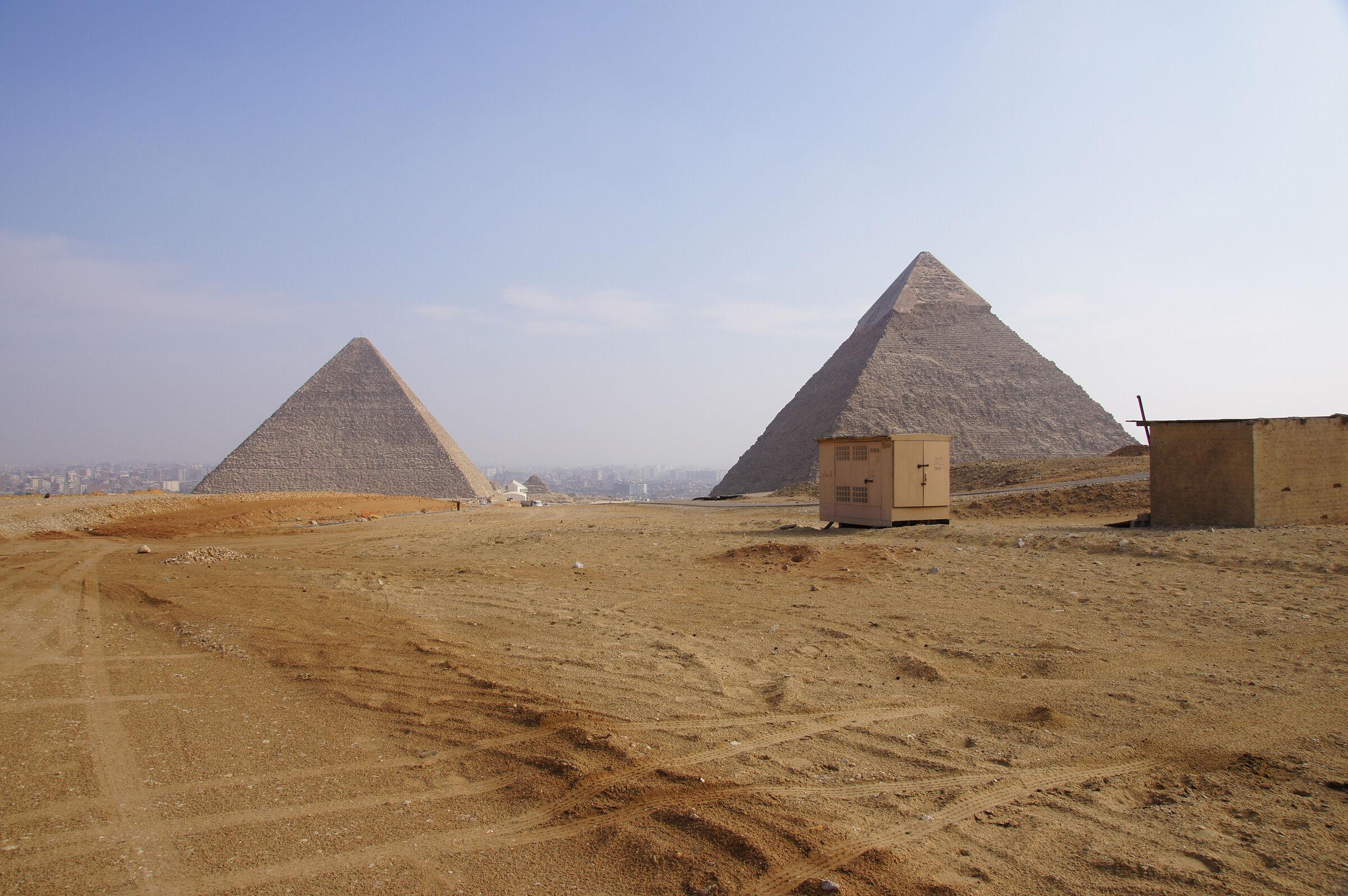 General View: Site: Giza; View: Khufu Pyramid, Khafre Pyramid