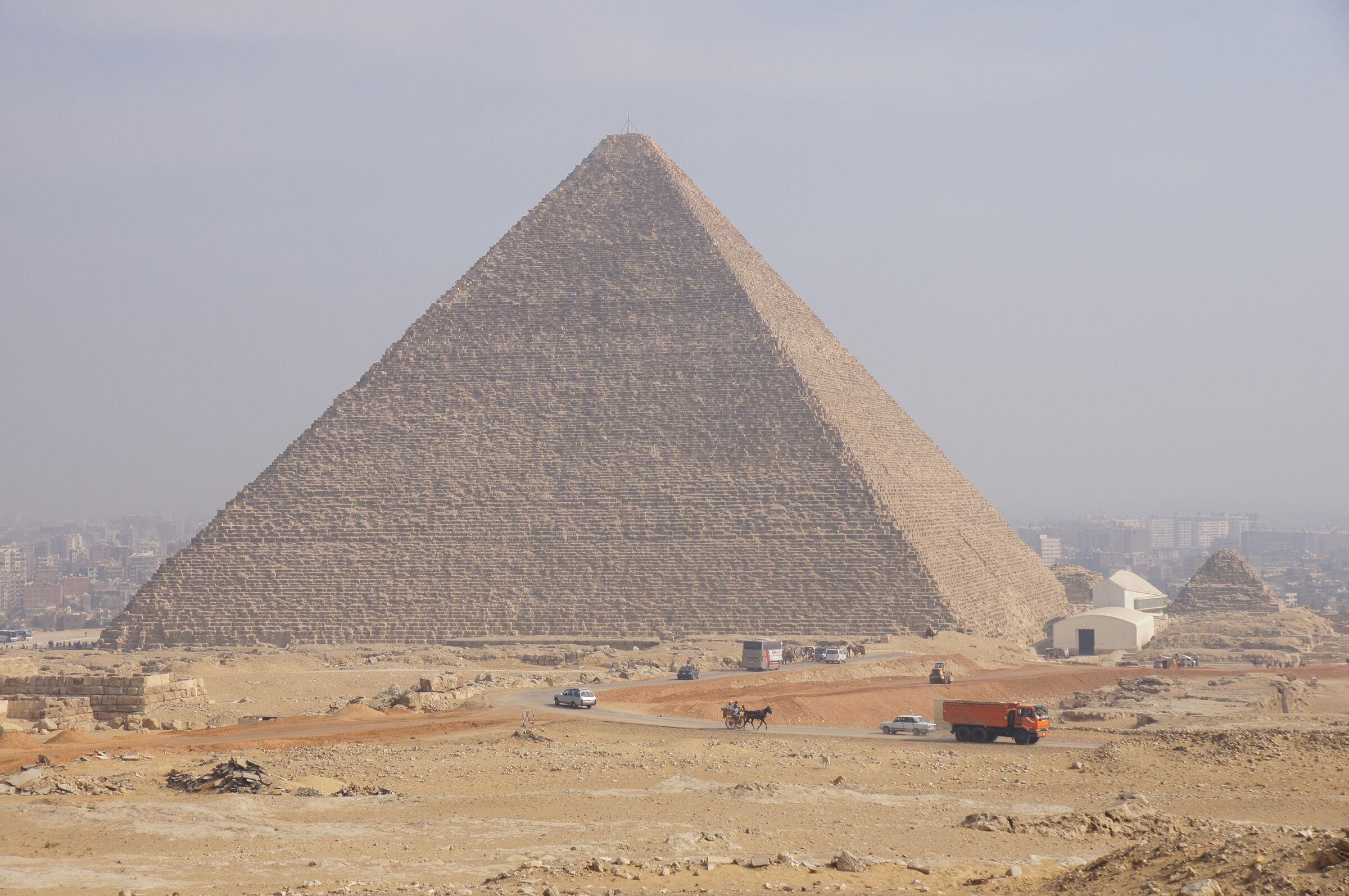 General view: Site: Giza; View: Khufu Pyramid, G I-South Cemetery, Khufu Boat Museum, G I-c, G 6050, G 6010