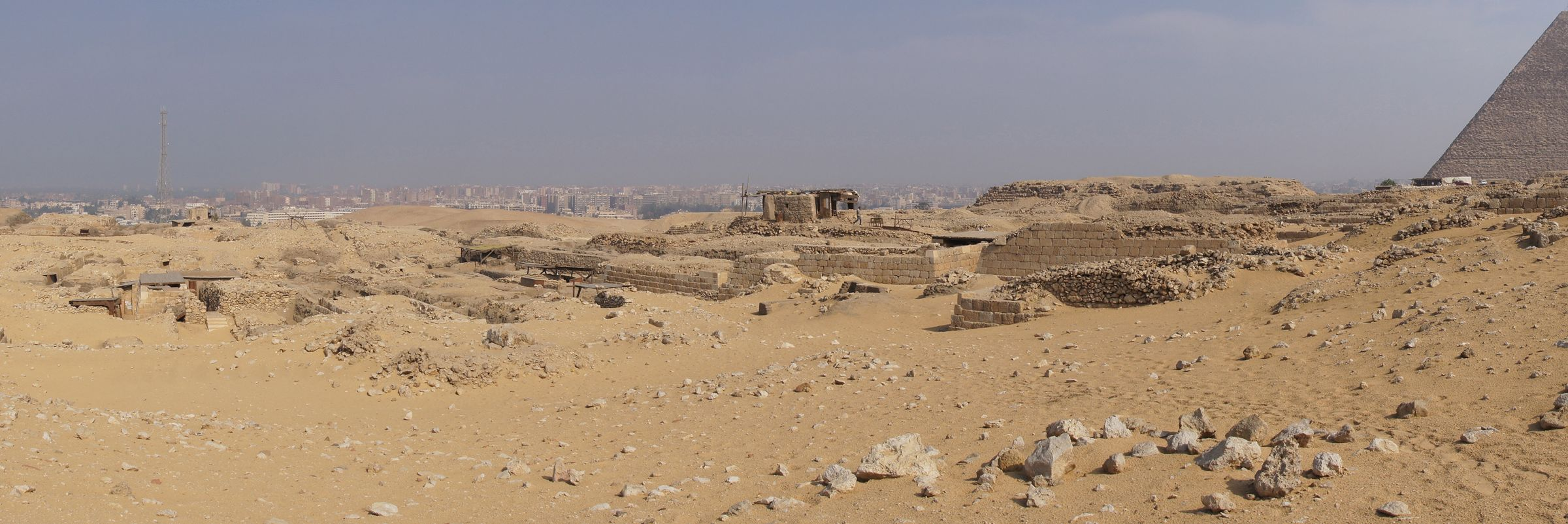 Western Cemetery: Site: Giza; View: G 2000, Cemetery G 1200, Cemetery G 1700, Cemetery G 1800, Khufu Pyramid