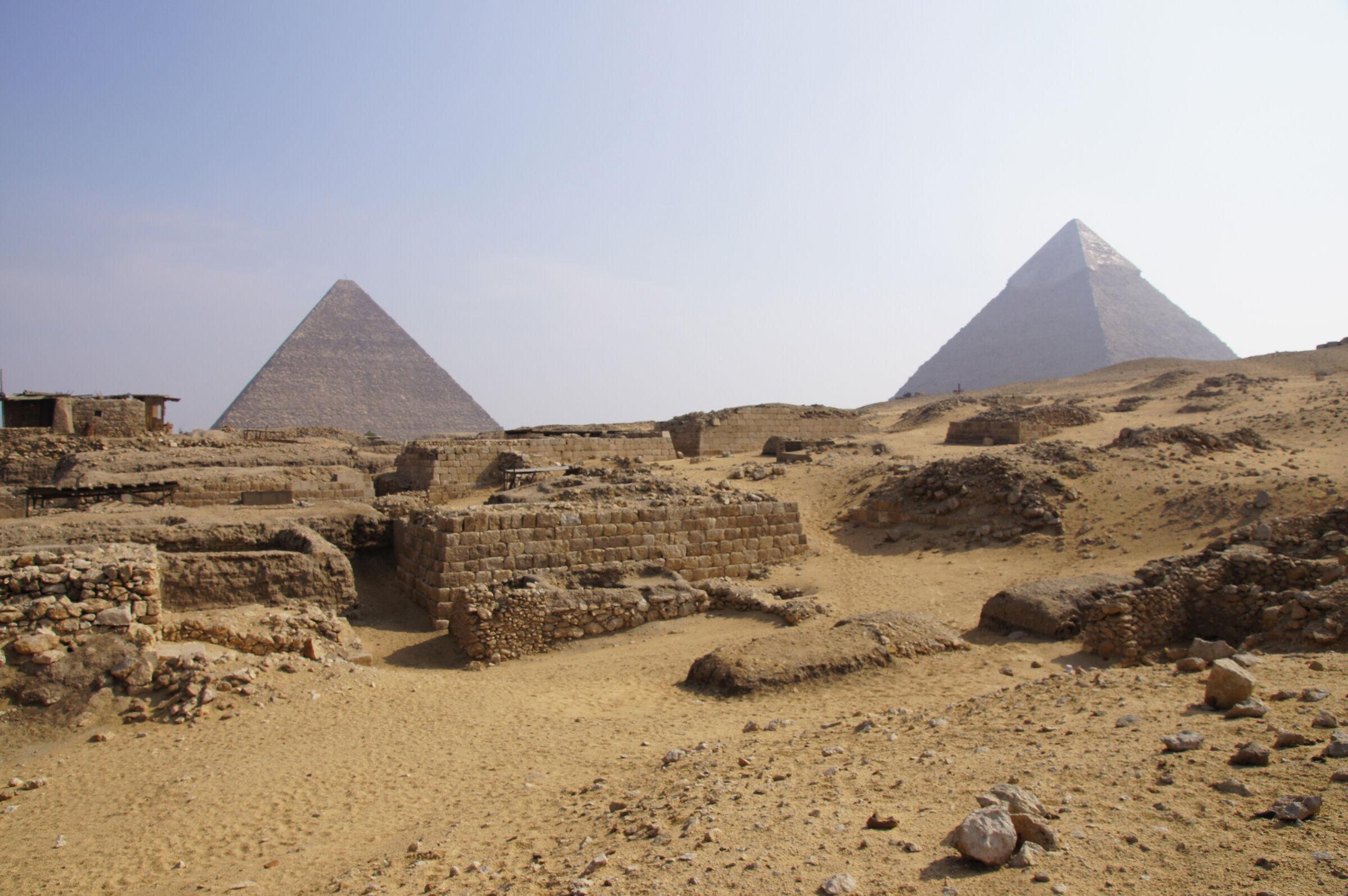 Western Cemetery: Site: Giza; View: Cemetery G 1700, Cemetery G 1800, Khufu Pyramid, Khafre Pyramid