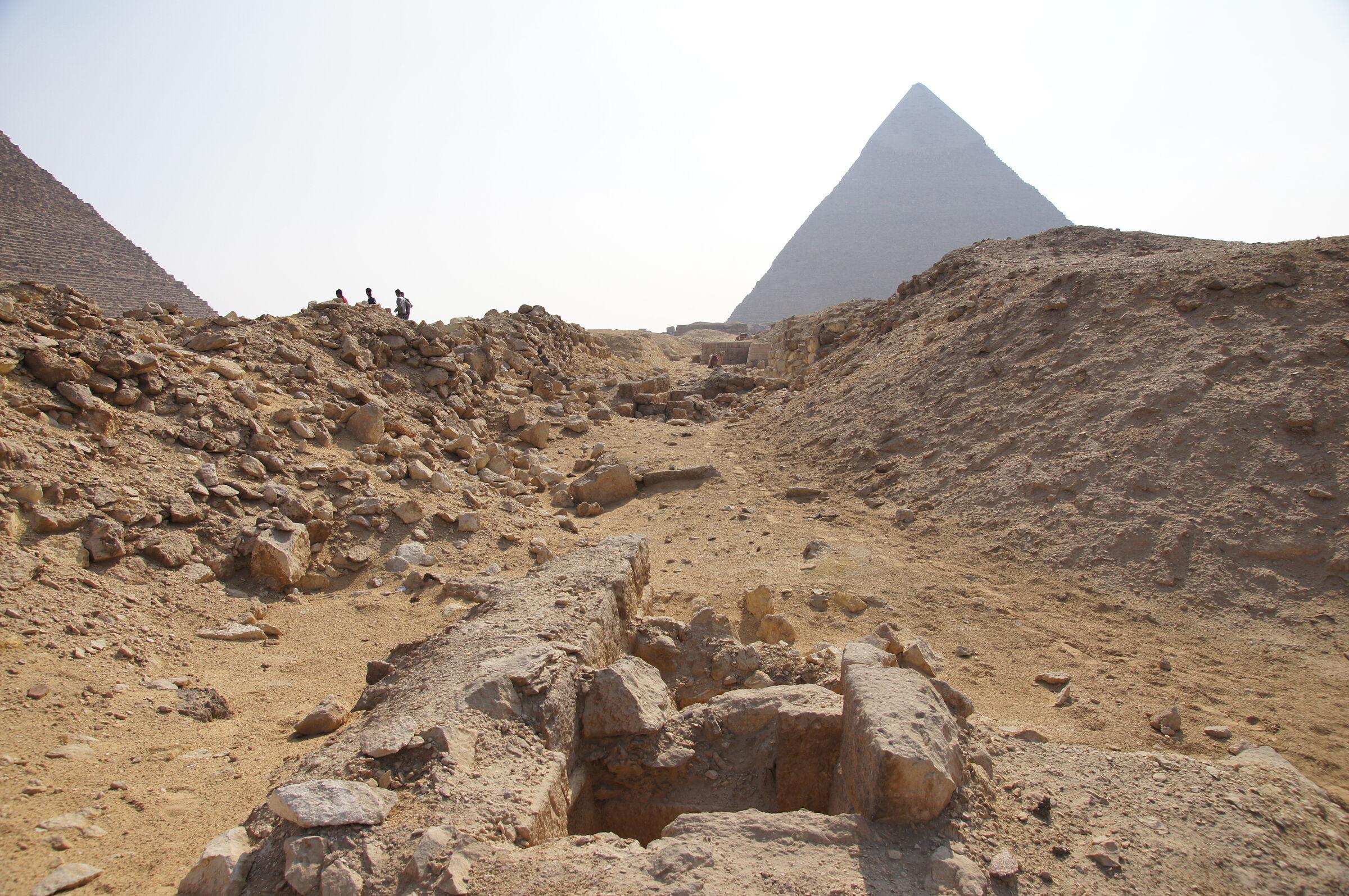 Western Cemetery: Site: Giza; View: G 2170, G 2171, G 2172, G 2173, G 2174, Khafre Pyramid